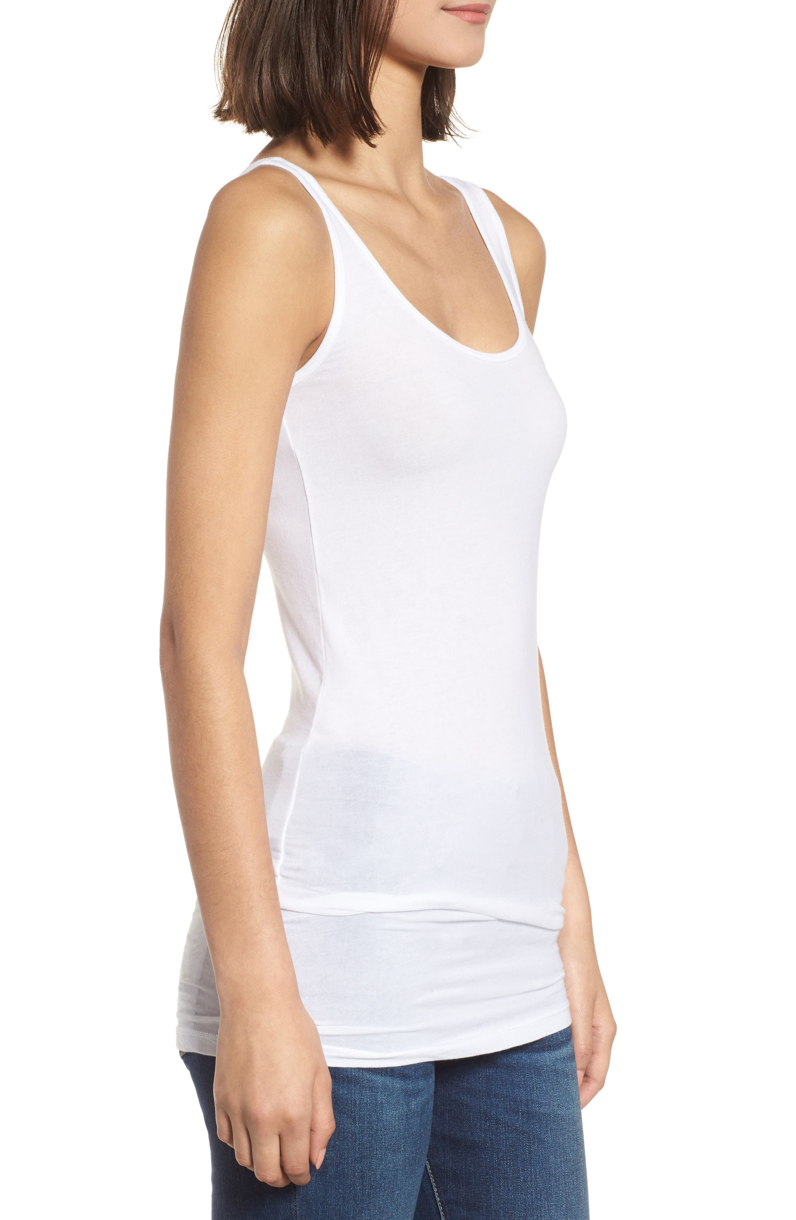 Scoop Neck Stretch Tank,                             Alternate thumbnail 5, color,                             White