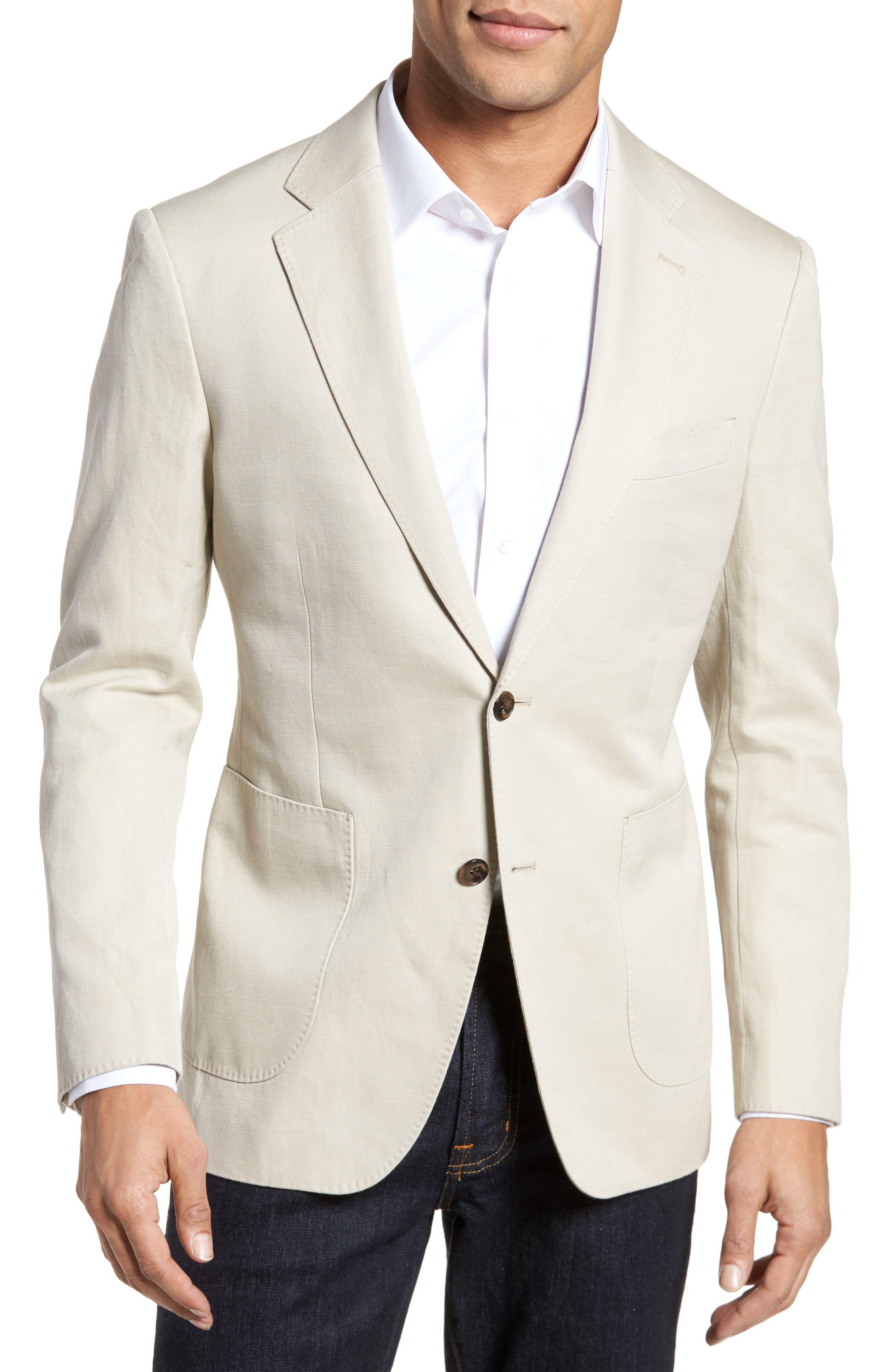 Maxwell Valley Cotton & Linen Sport Coat,                             Main thumbnail 1, color,                             Natural