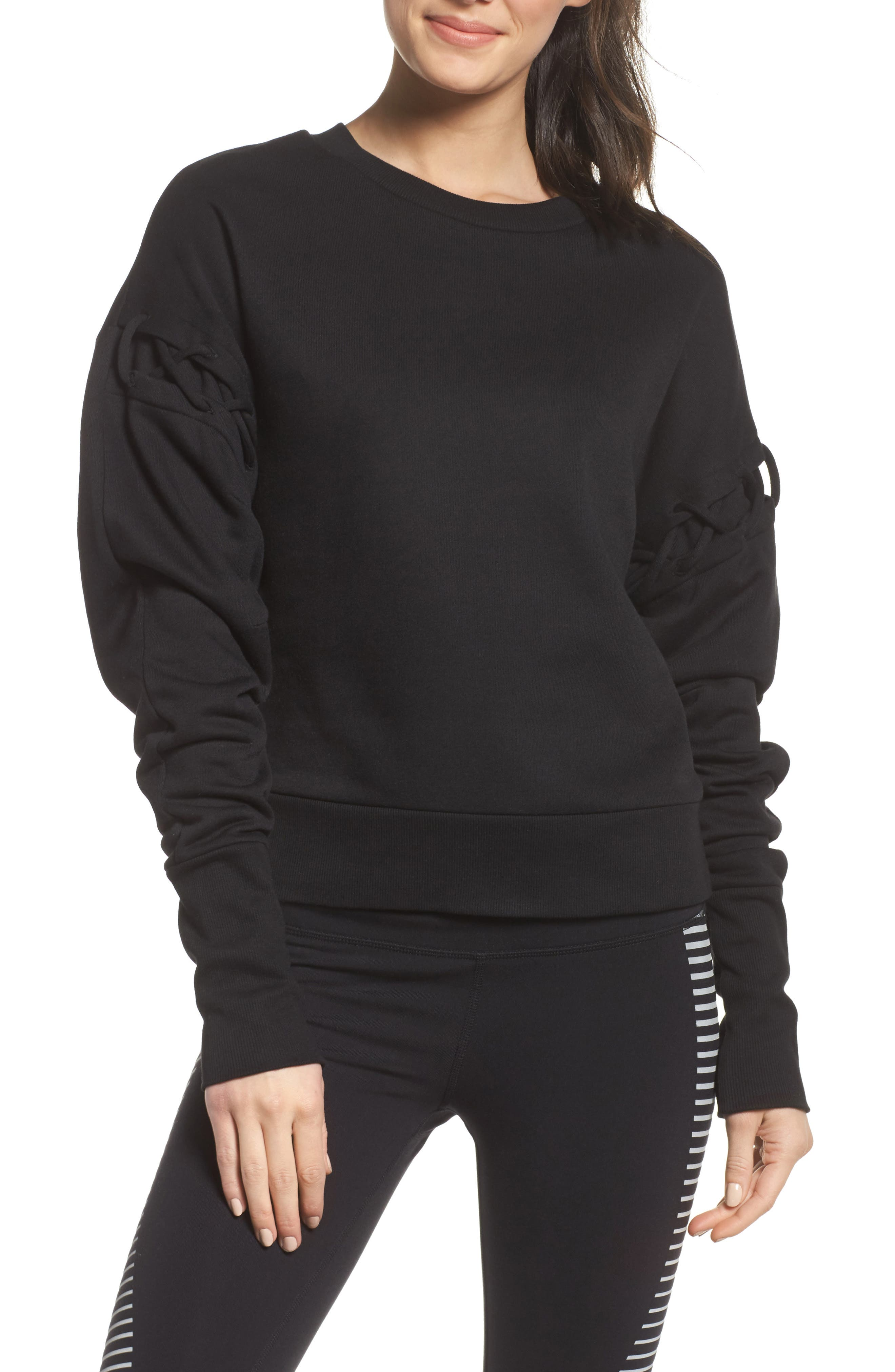 Lattice Long Sleeve Pullover,                             Main thumbnail 1, color,                             Black