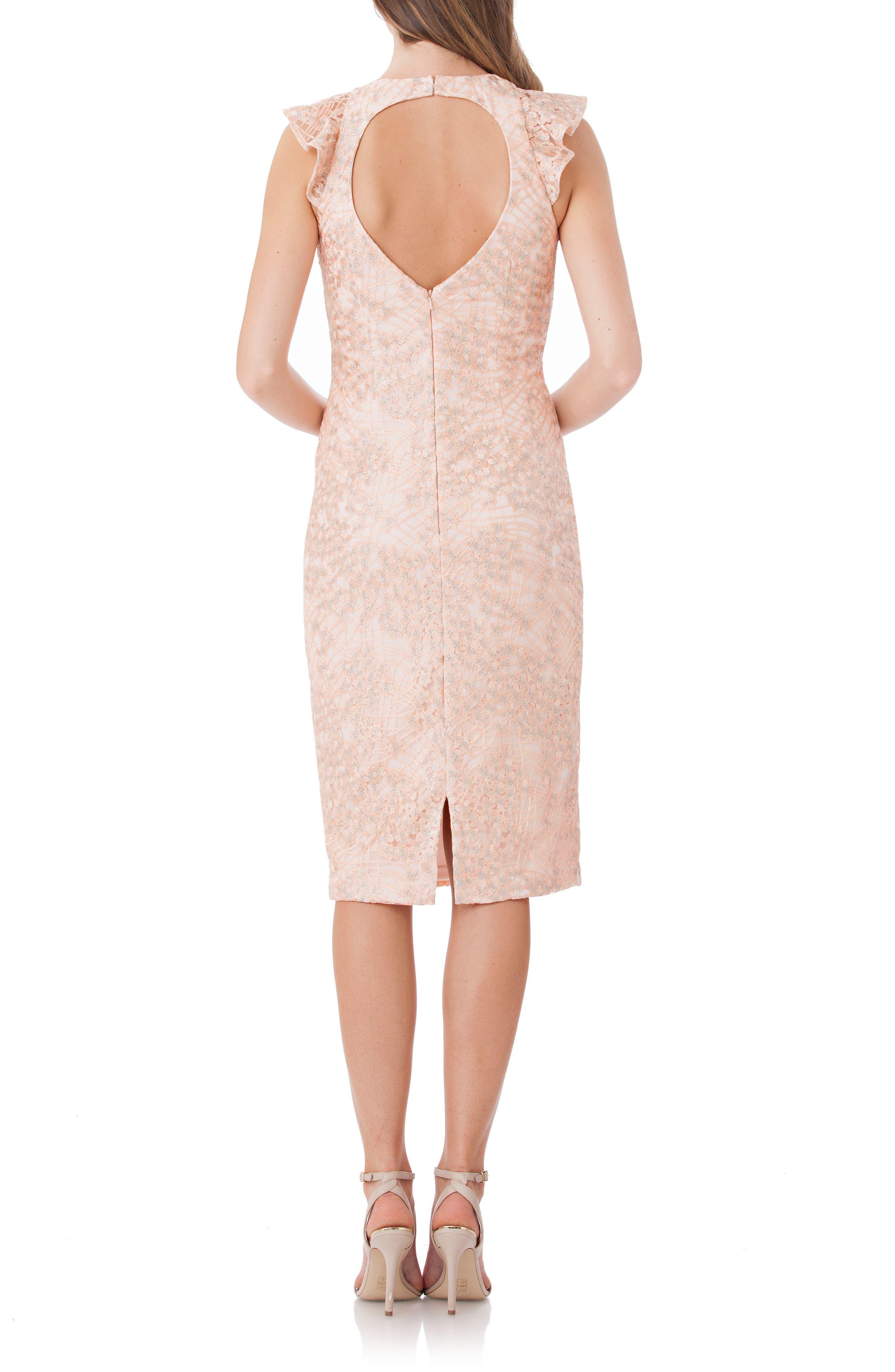 Back Cutout Lace Sheath Dress,                             Alternate thumbnail 2, color,                             Blush/ Sil