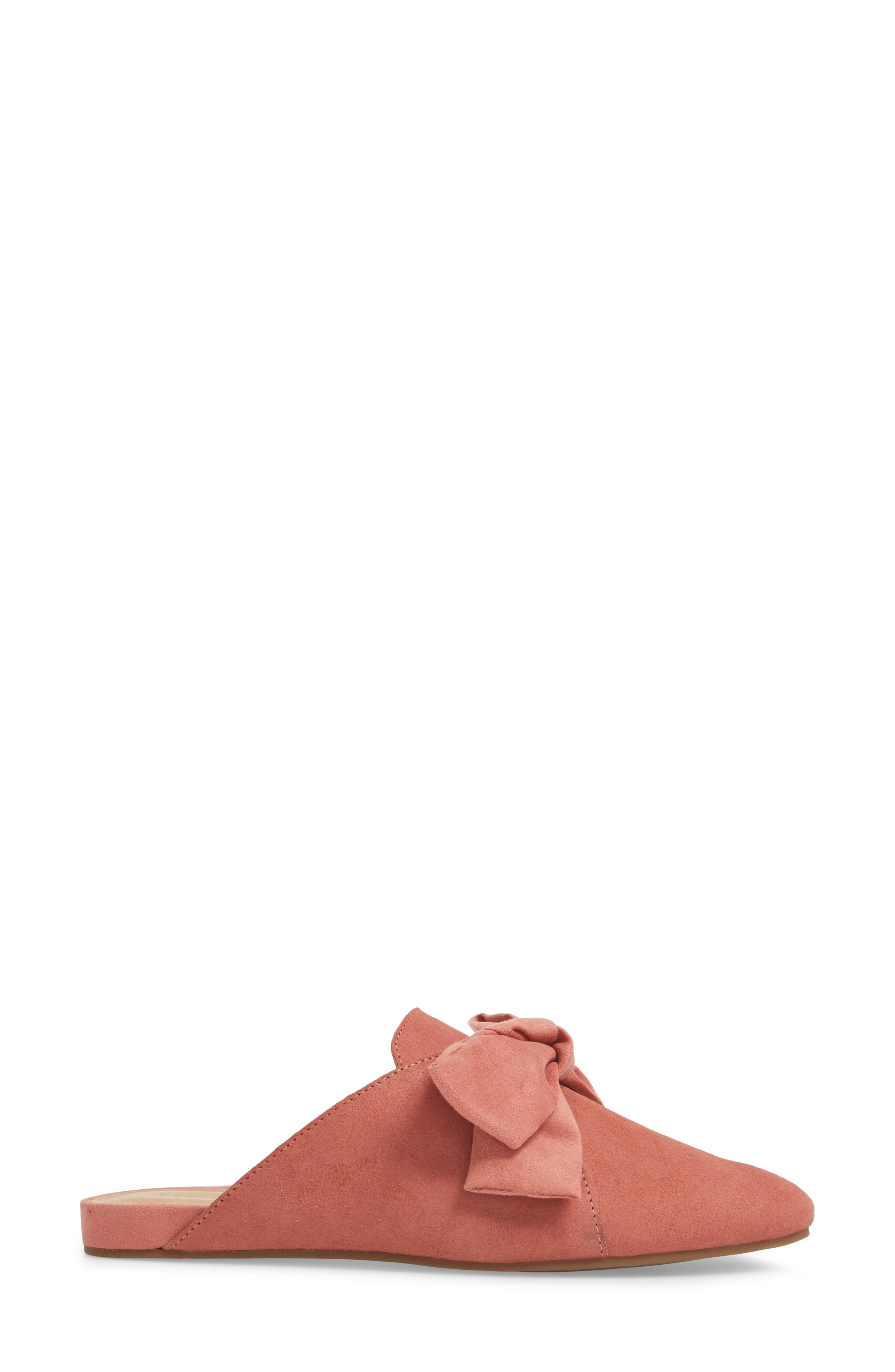 Florean Bow Loafer Mule,                             Alternate thumbnail 3, color,                             Canyon Rose Leather