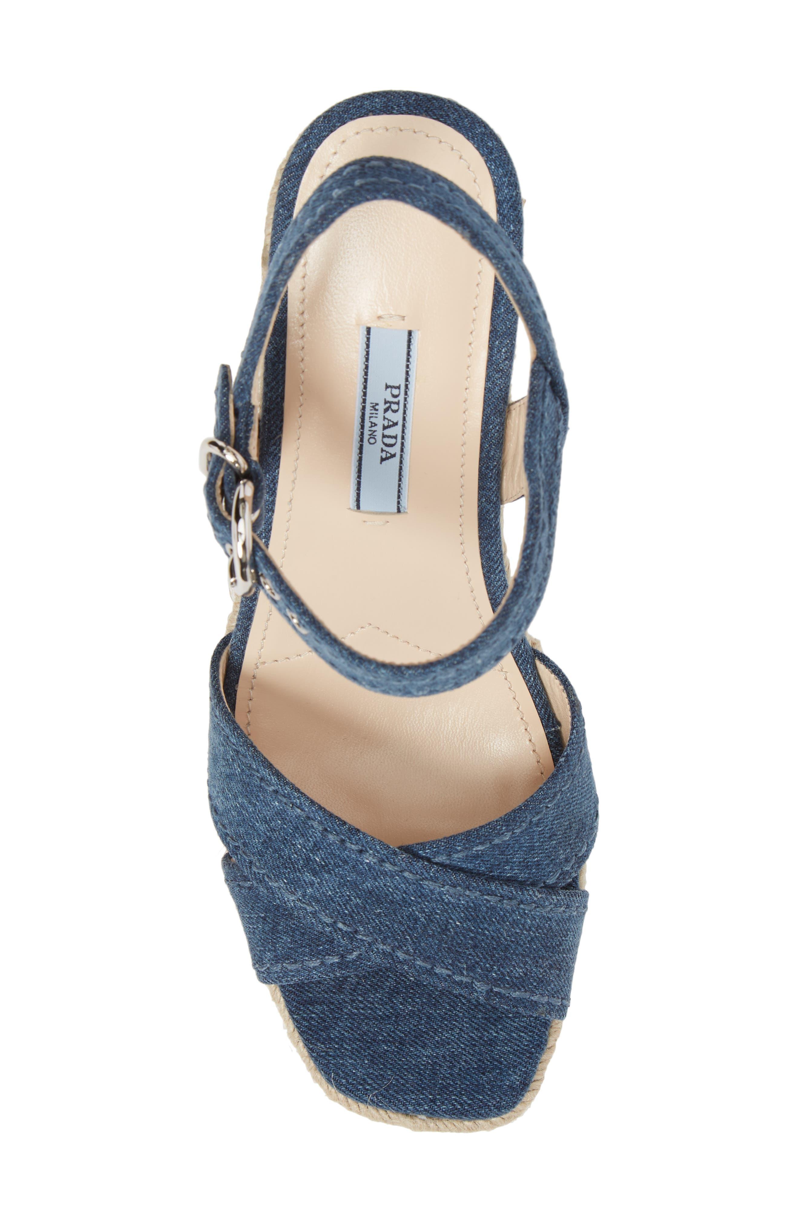 Espadrille Wedge Sandal,                             Alternate thumbnail 5, color,                             Blue