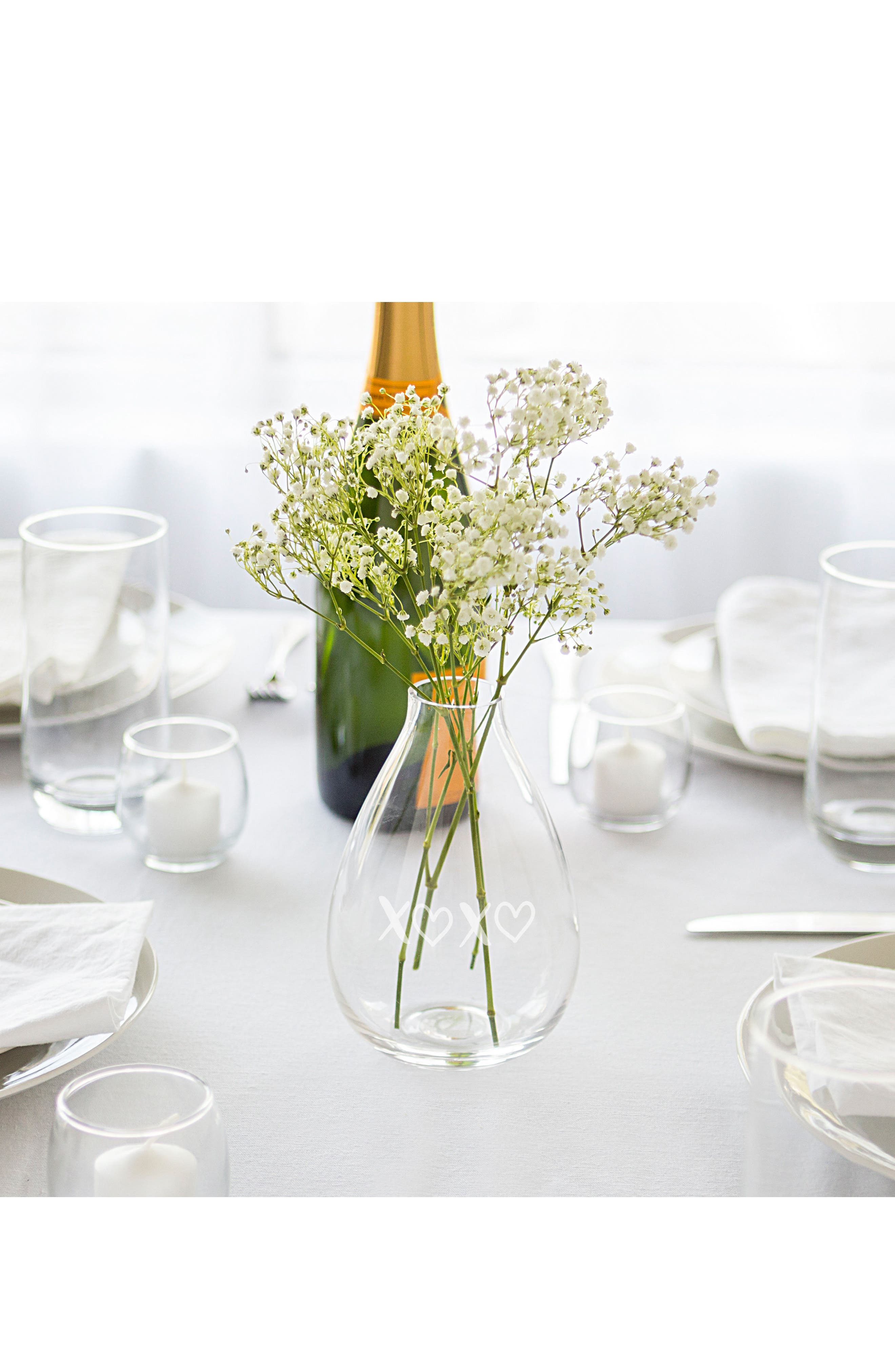 XOXO Glass Vase,                             Alternate thumbnail 3, color,                             Clear