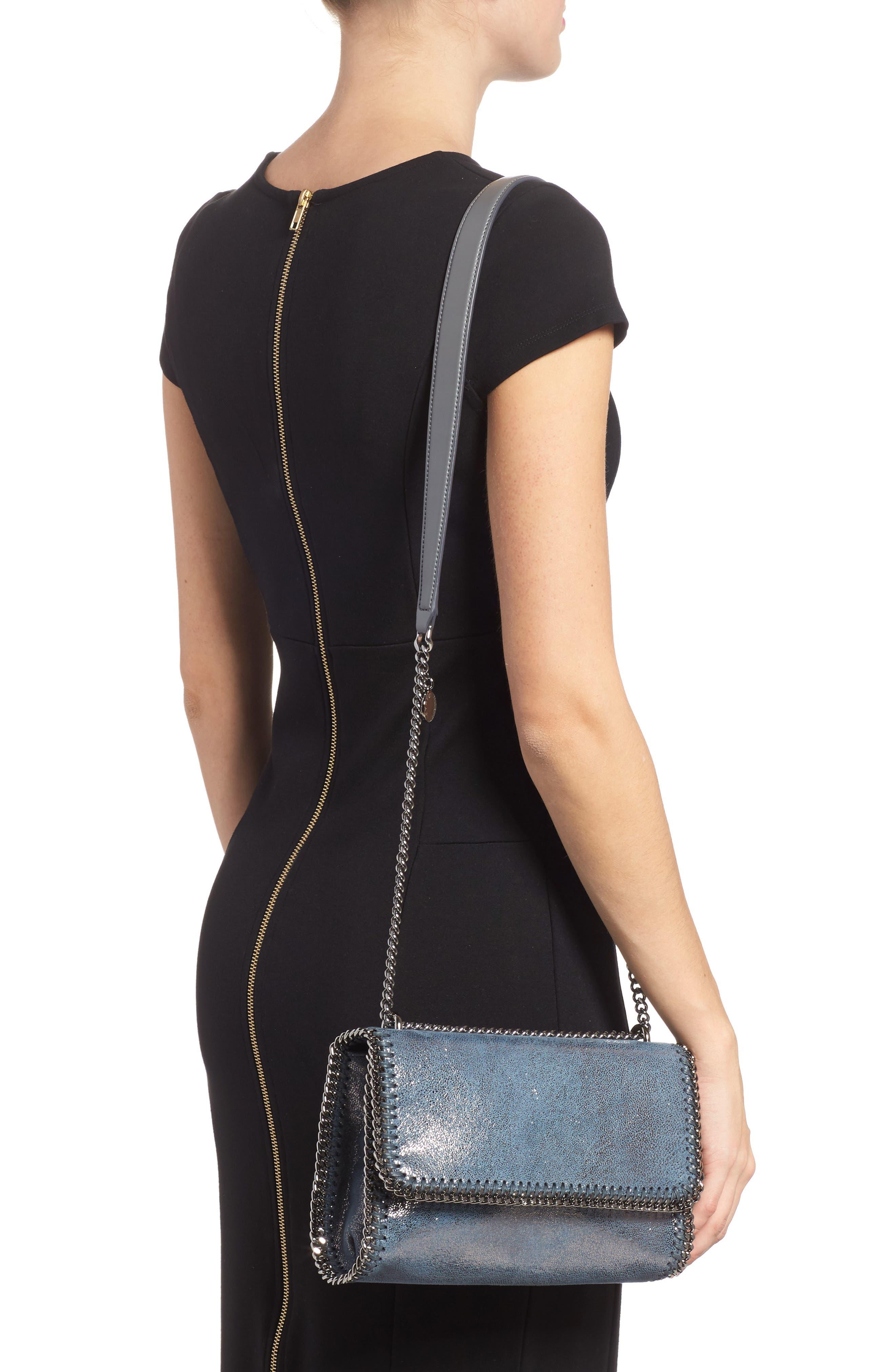 Falabella Metallic Faux Leather Convertible Shoulder Bag,                             Alternate thumbnail 2, color,                             Blue Lagoon