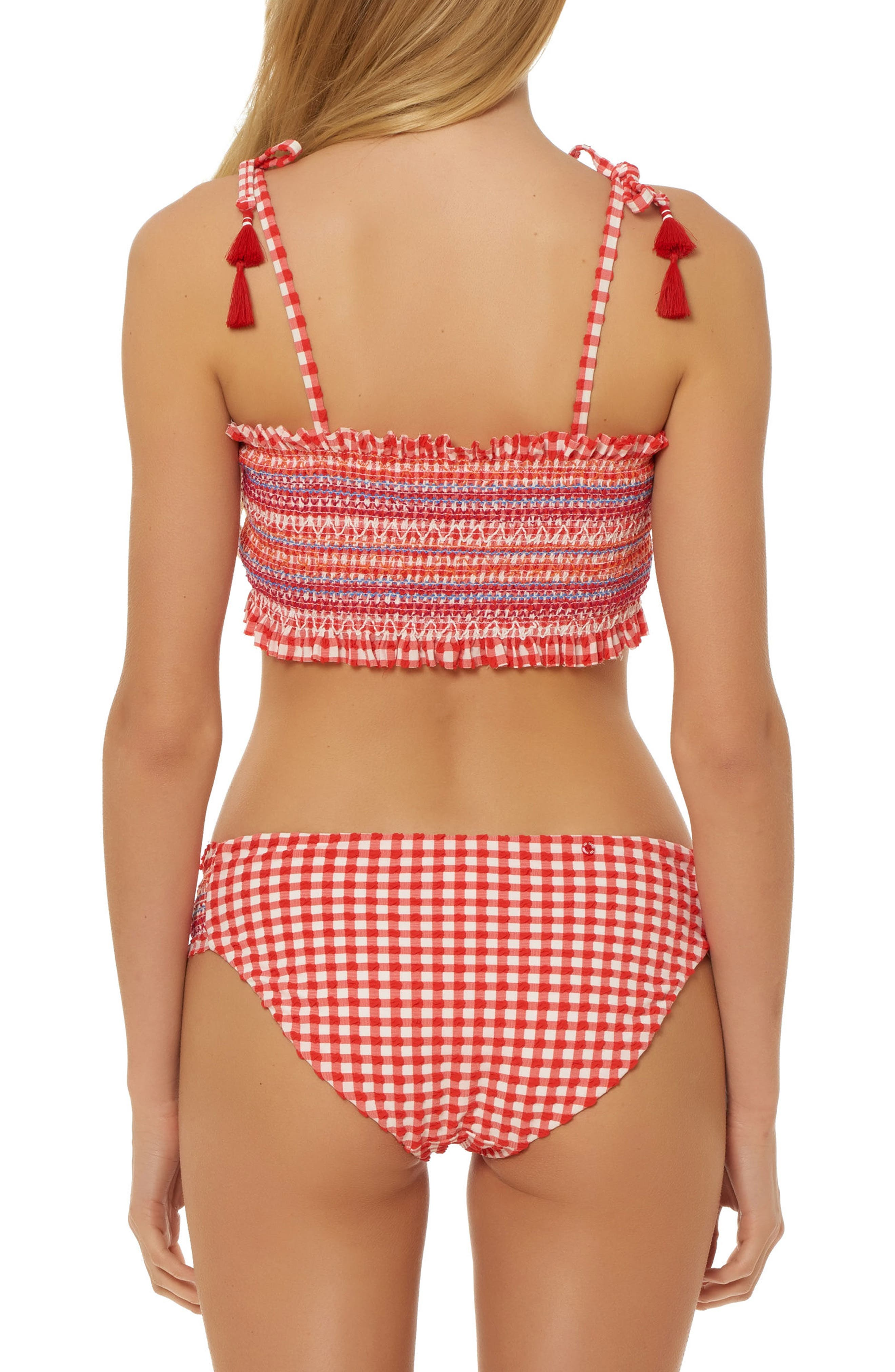 Smocked Gingham Bikini Top,                             Alternate thumbnail 4, color,                             Red
