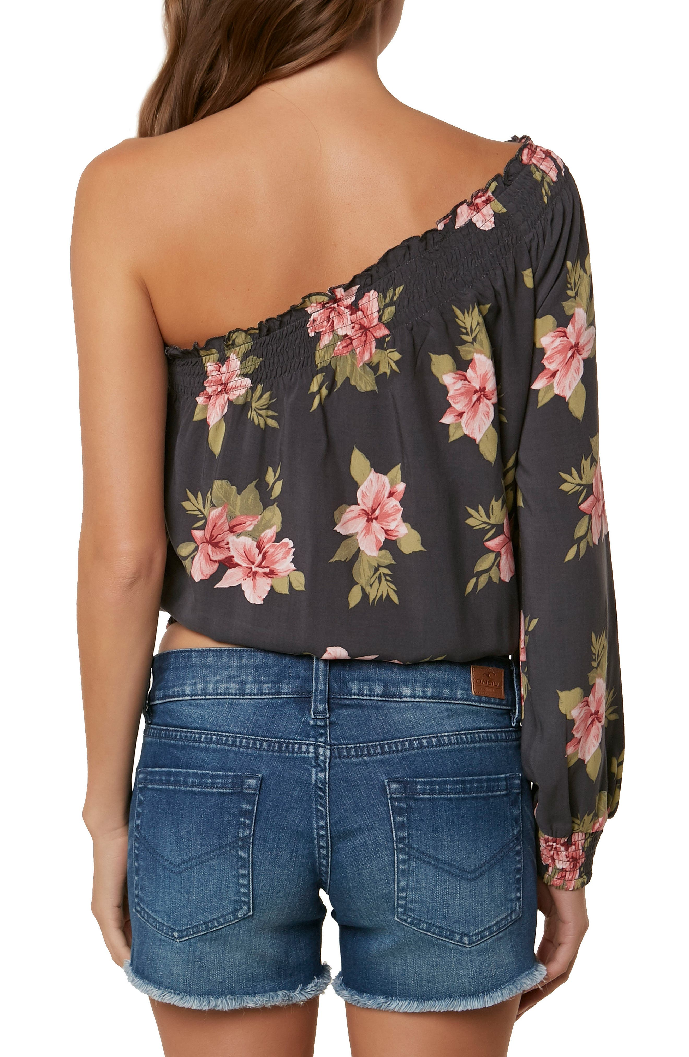 Bobbie Flower Print One-Shoulder Top,                             Alternate thumbnail 2, color,                             Asphalt