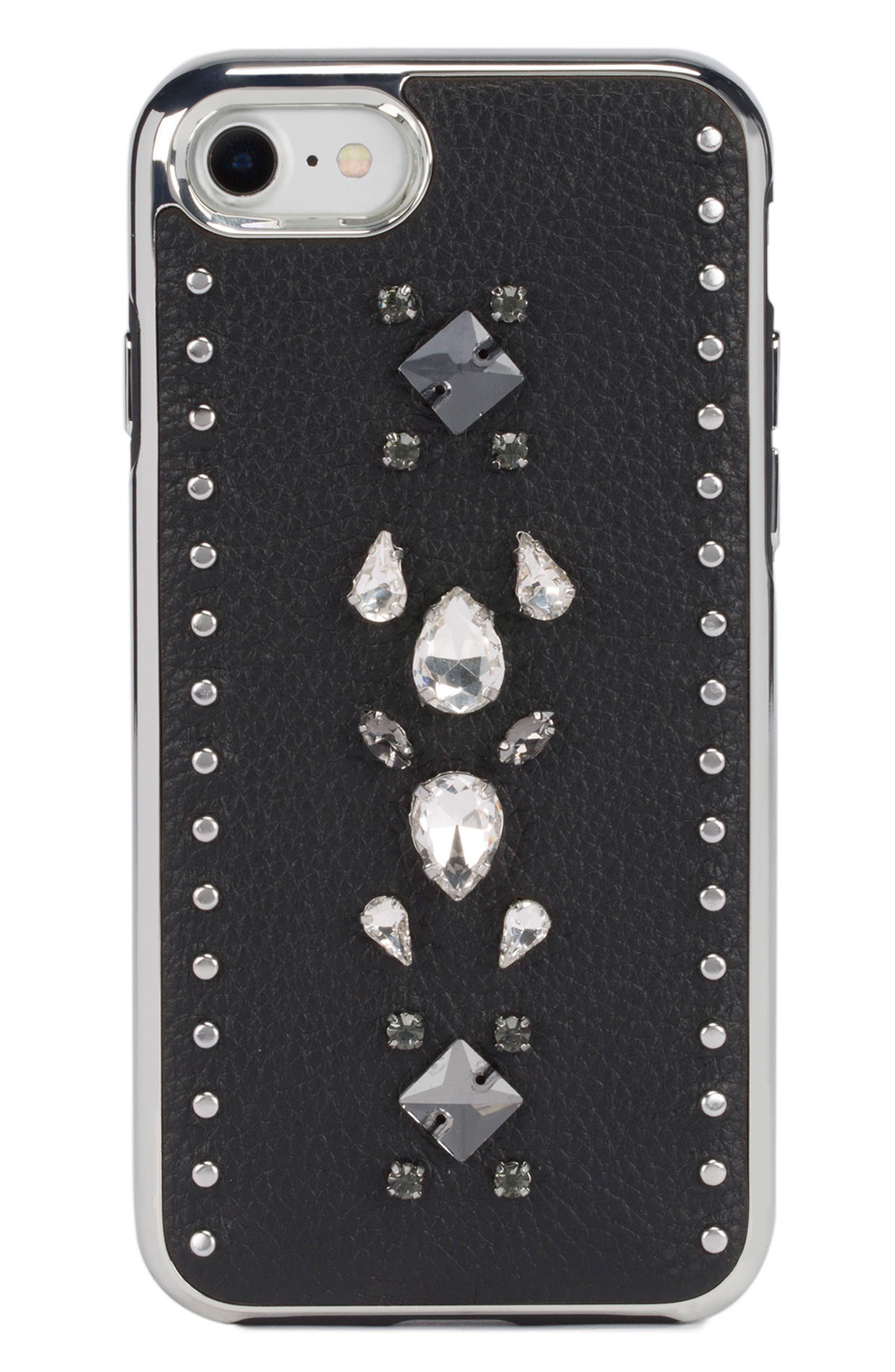 Inlay Gem Leather iPhone 7/8 Plus Case,                             Main thumbnail 1, color,                             Multi Gems/ Studs/ Black