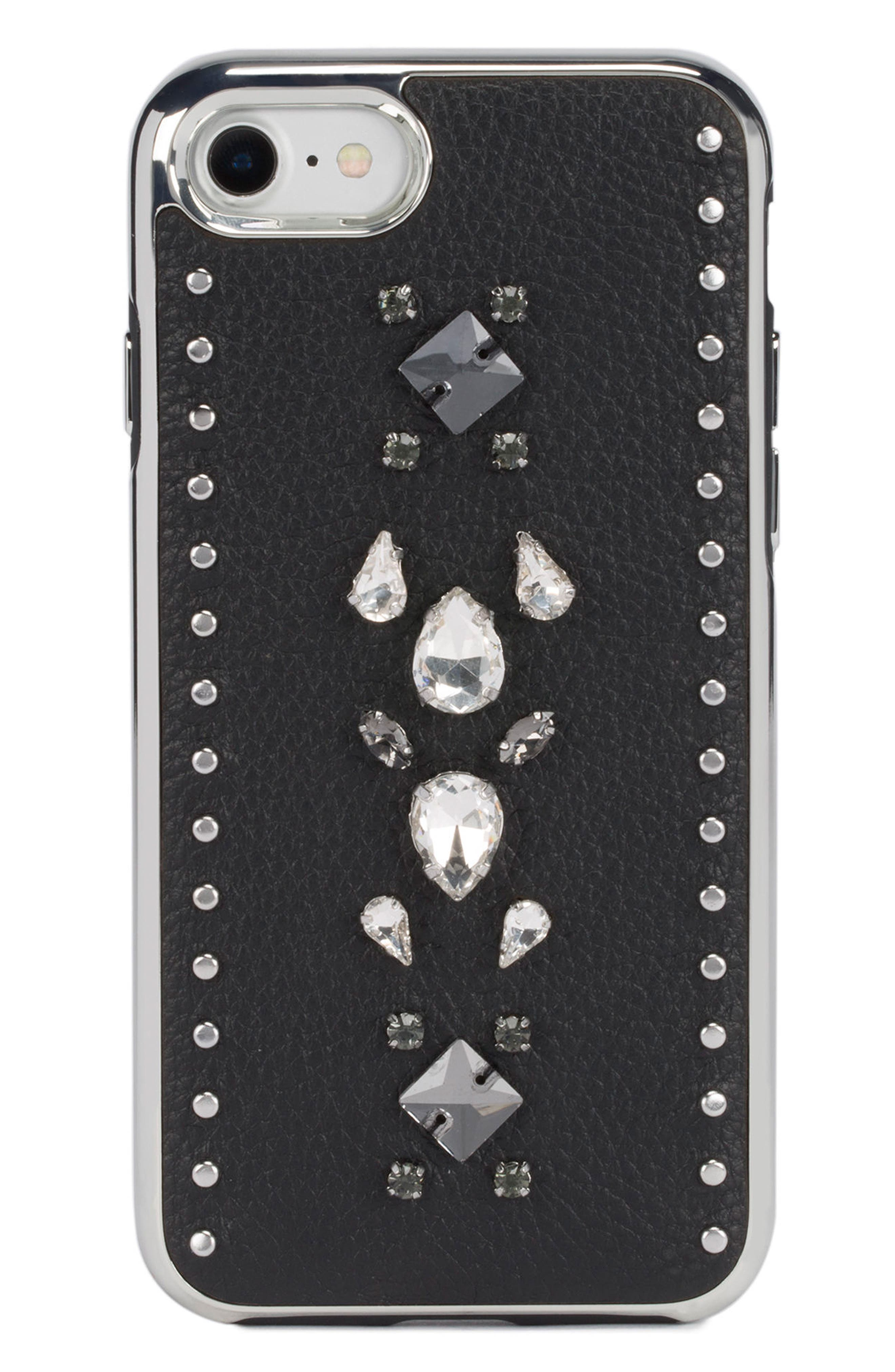 Inlay Gem Leather iPhone 7/8 Plus Case,                         Main,                         color, Multi Gems/ Studs/ Black