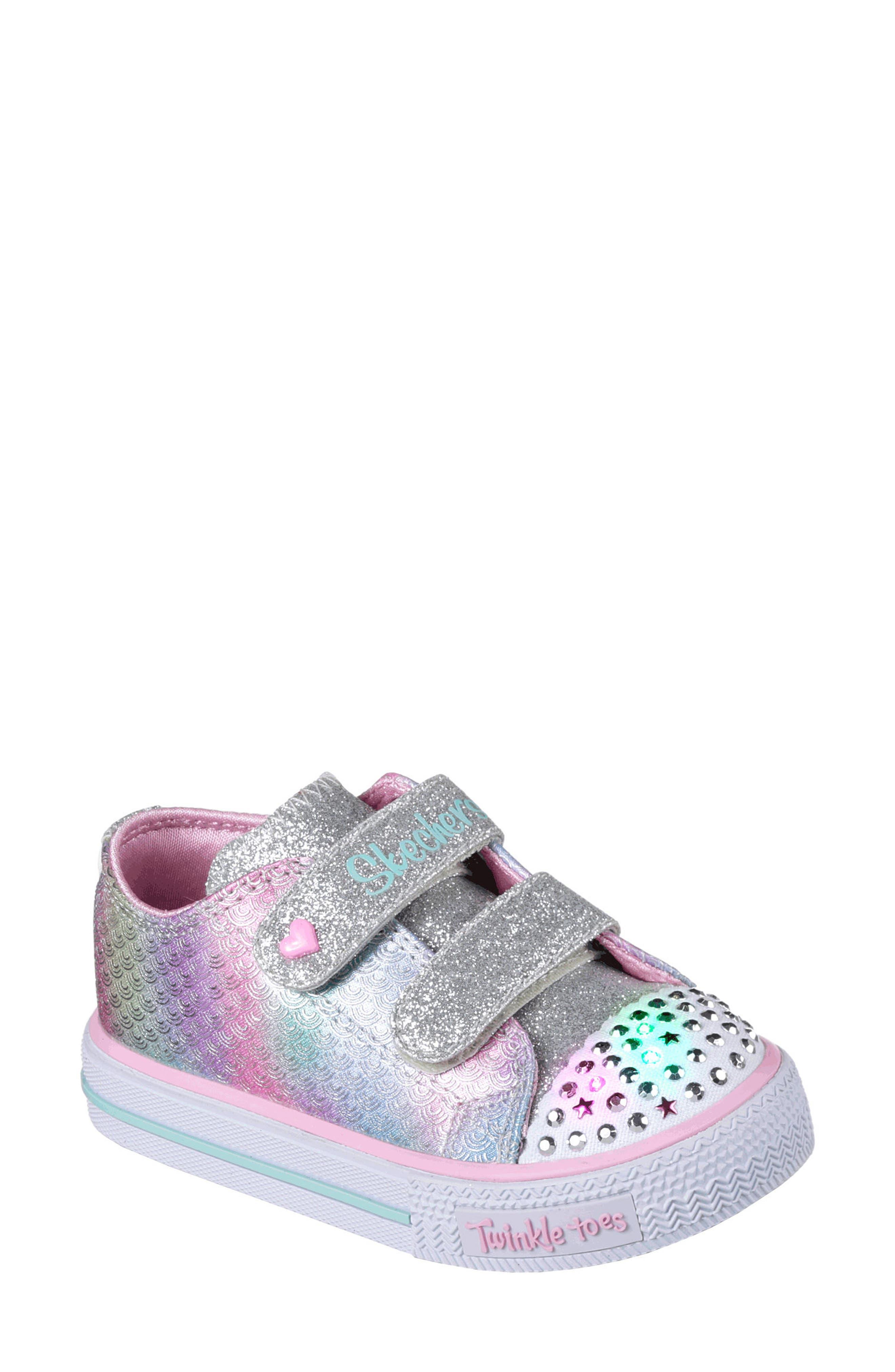 Shuffles - Itsy Bitsy Light-Up Sneaker,                             Main thumbnail 1, color,                             Silver/ Multi