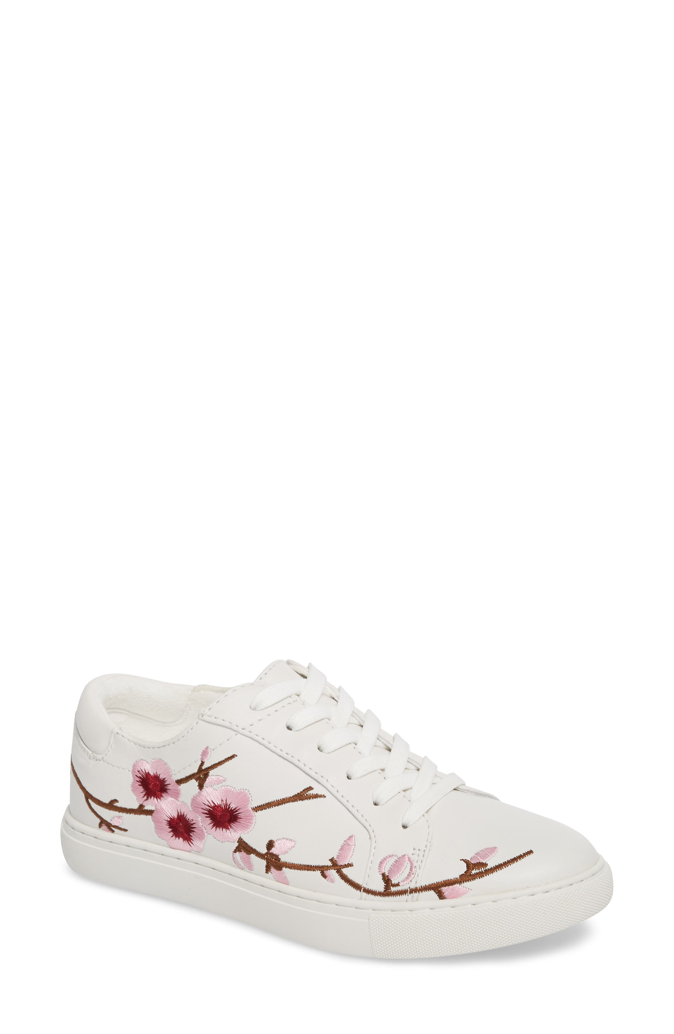 Kam Blossom Embroidered Sneaker,                         Main,                         color, White Leather