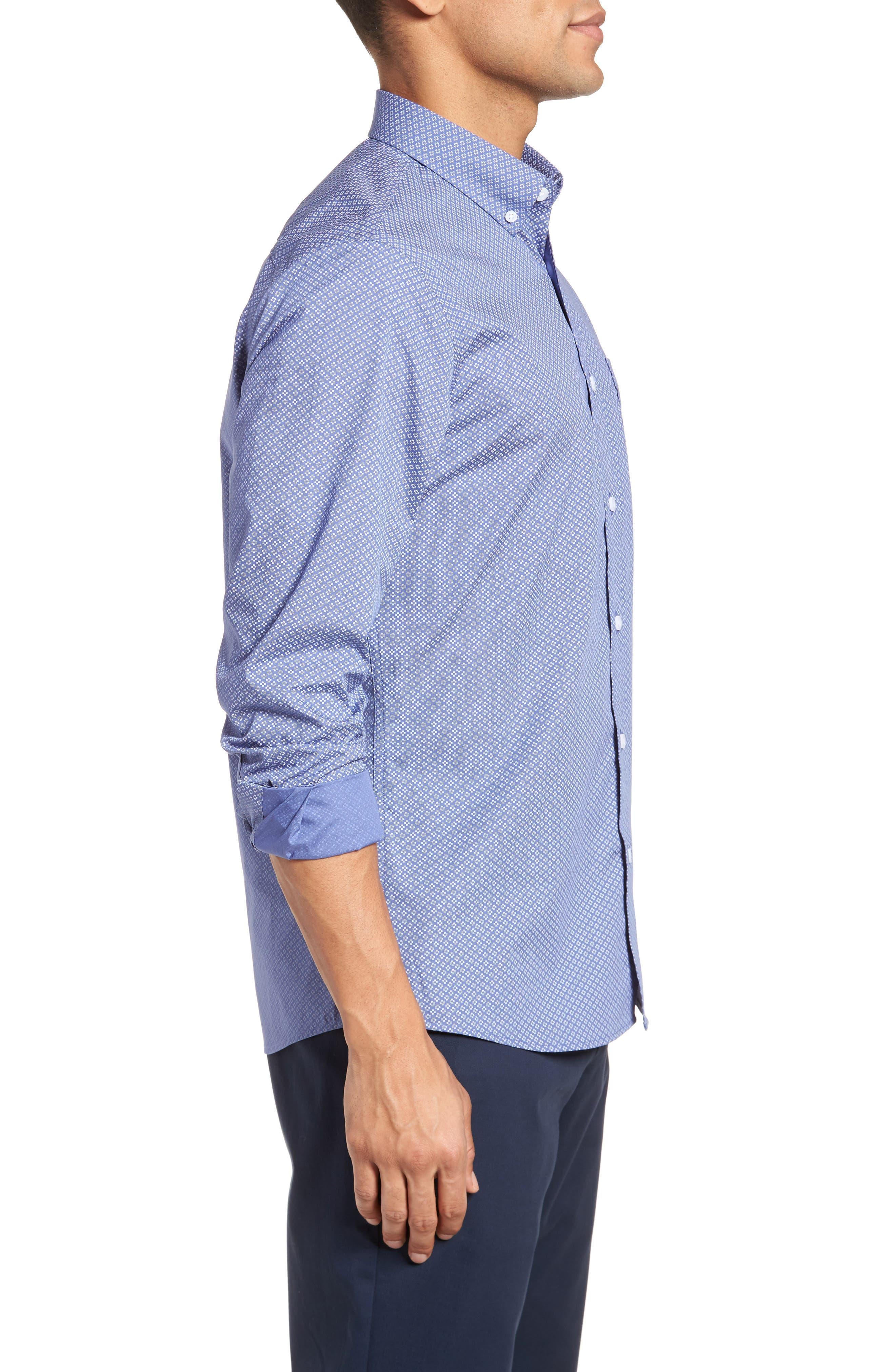 Non-Iron Print Sport Shirt,                             Alternate thumbnail 4, color,                             Blue White Micro Zia