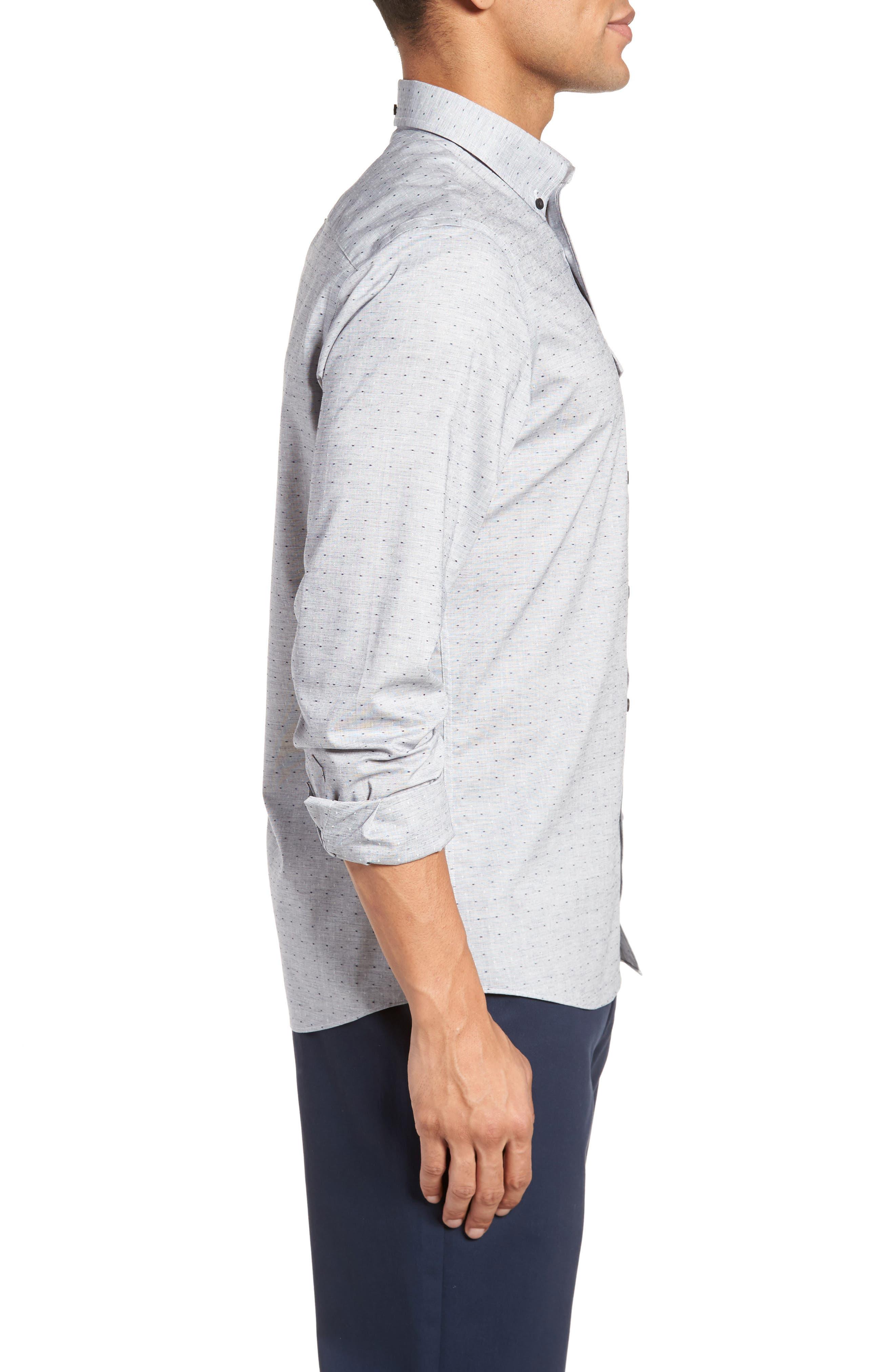 Trim Fit Dobby Sport Shirt,                             Alternate thumbnail 4, color,                             Navy White Eoe Dobby