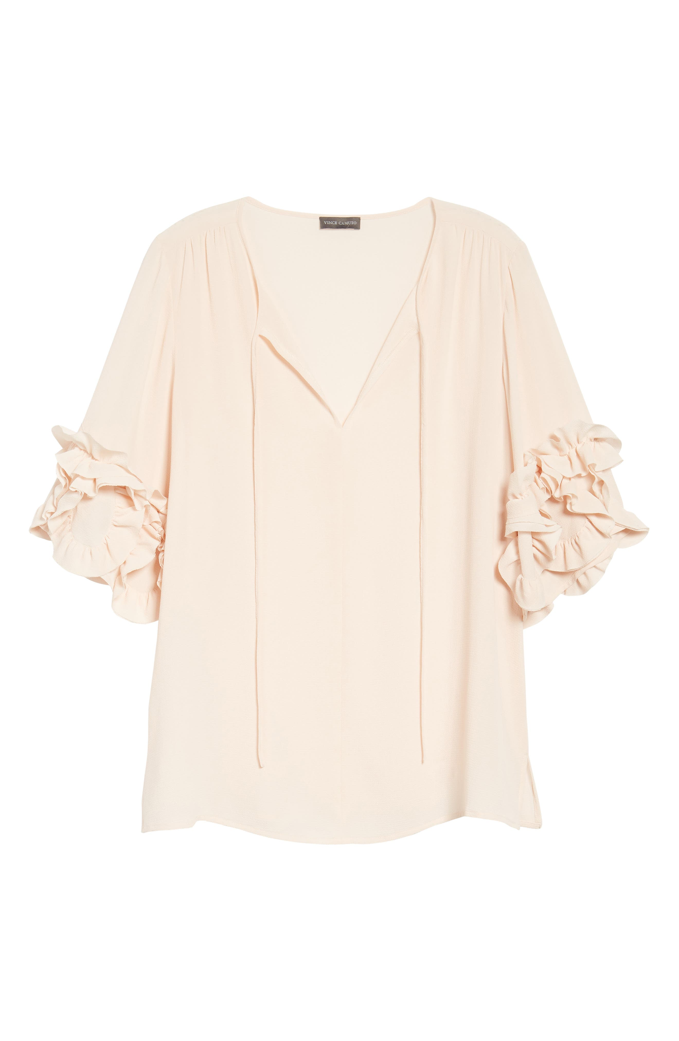 Ruffle Sleeve Tie Neck Blouse,                             Alternate thumbnail 6, color,                             Pink Mist