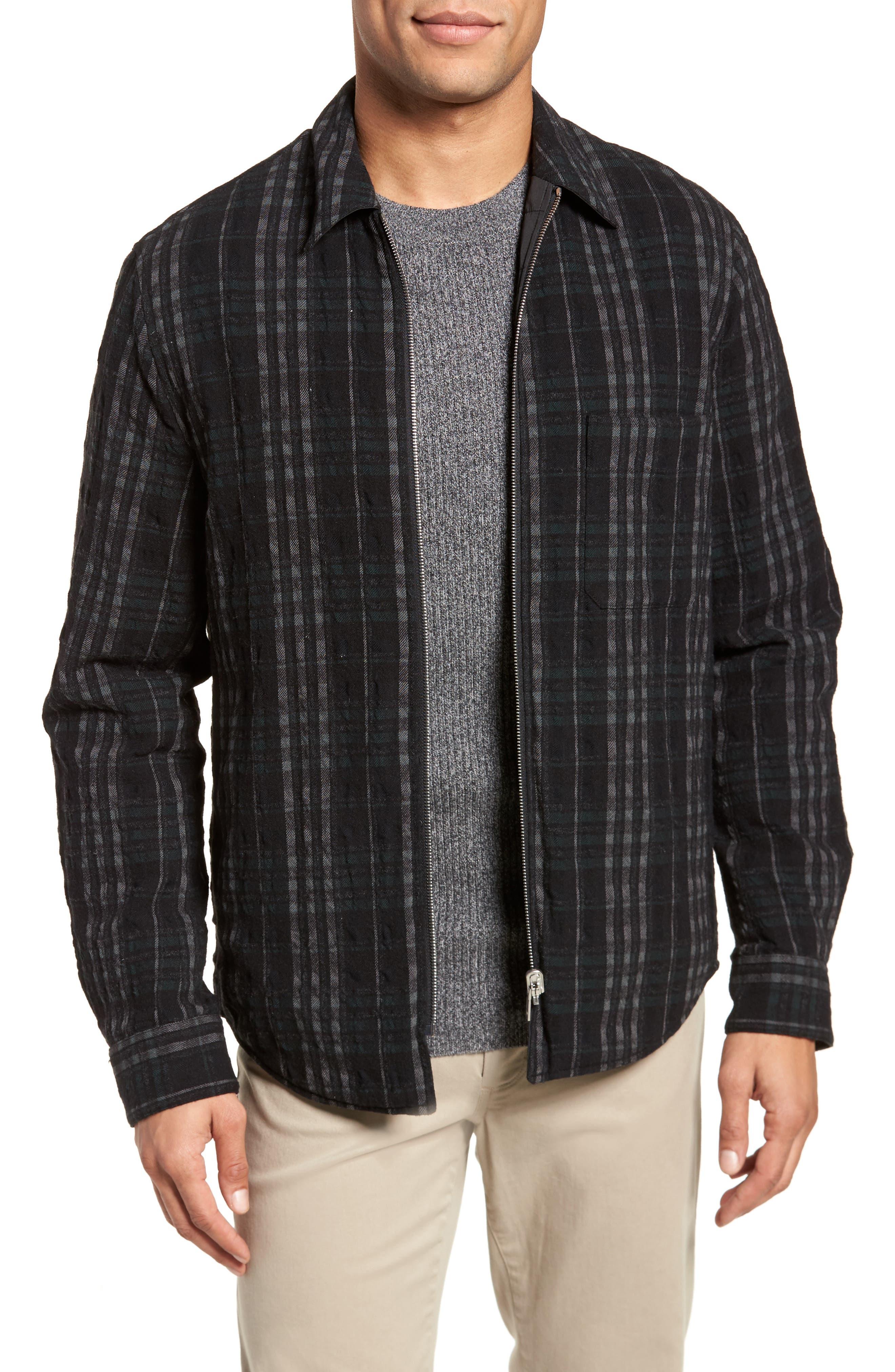 Wooly Reversible Zip Front Shirt Jacket,                             Main thumbnail 1, color,                             Black Multi