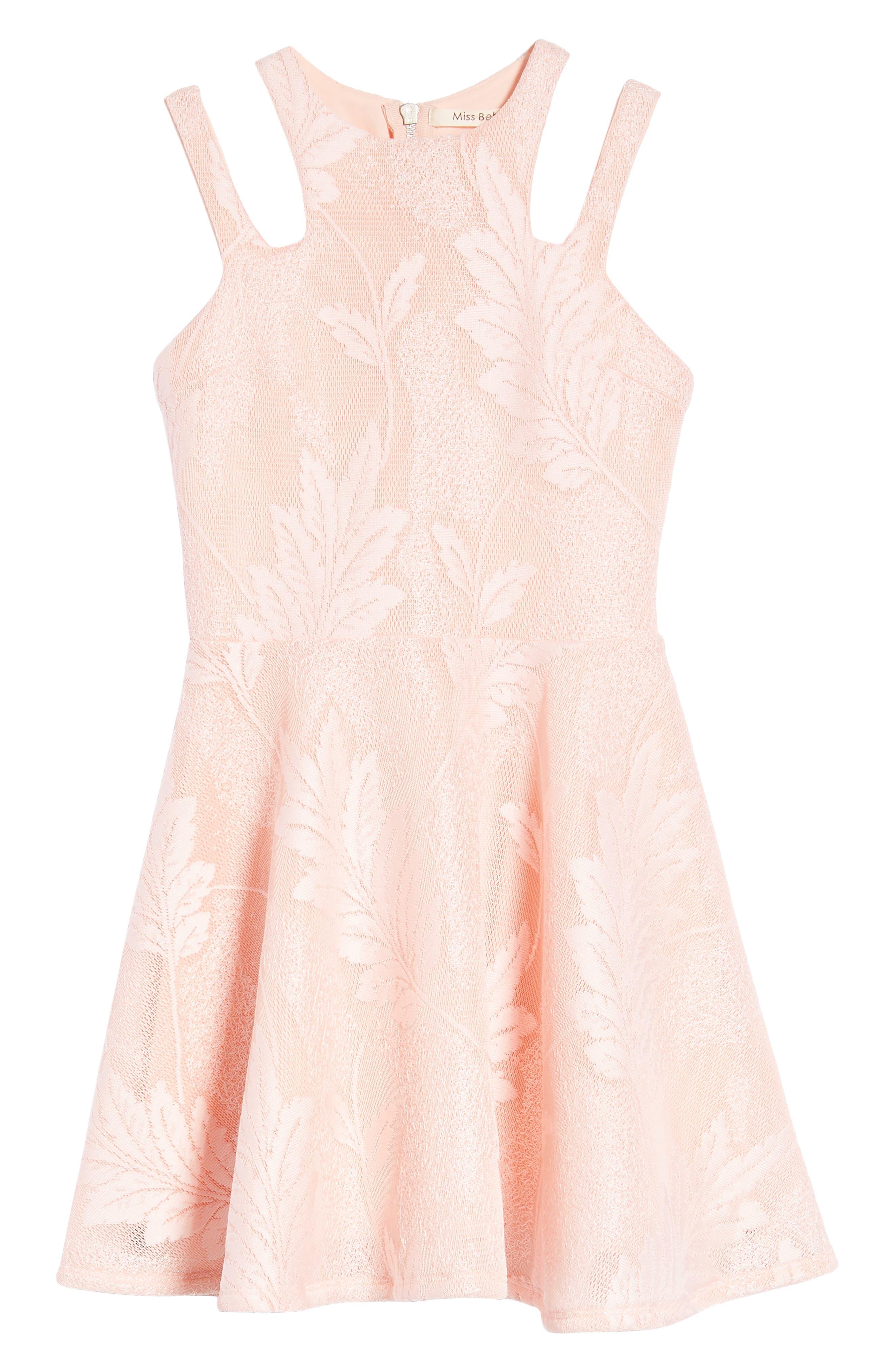 Split Strap Lace Fit & Flare Dress,                             Main thumbnail 1, color,                             Peach