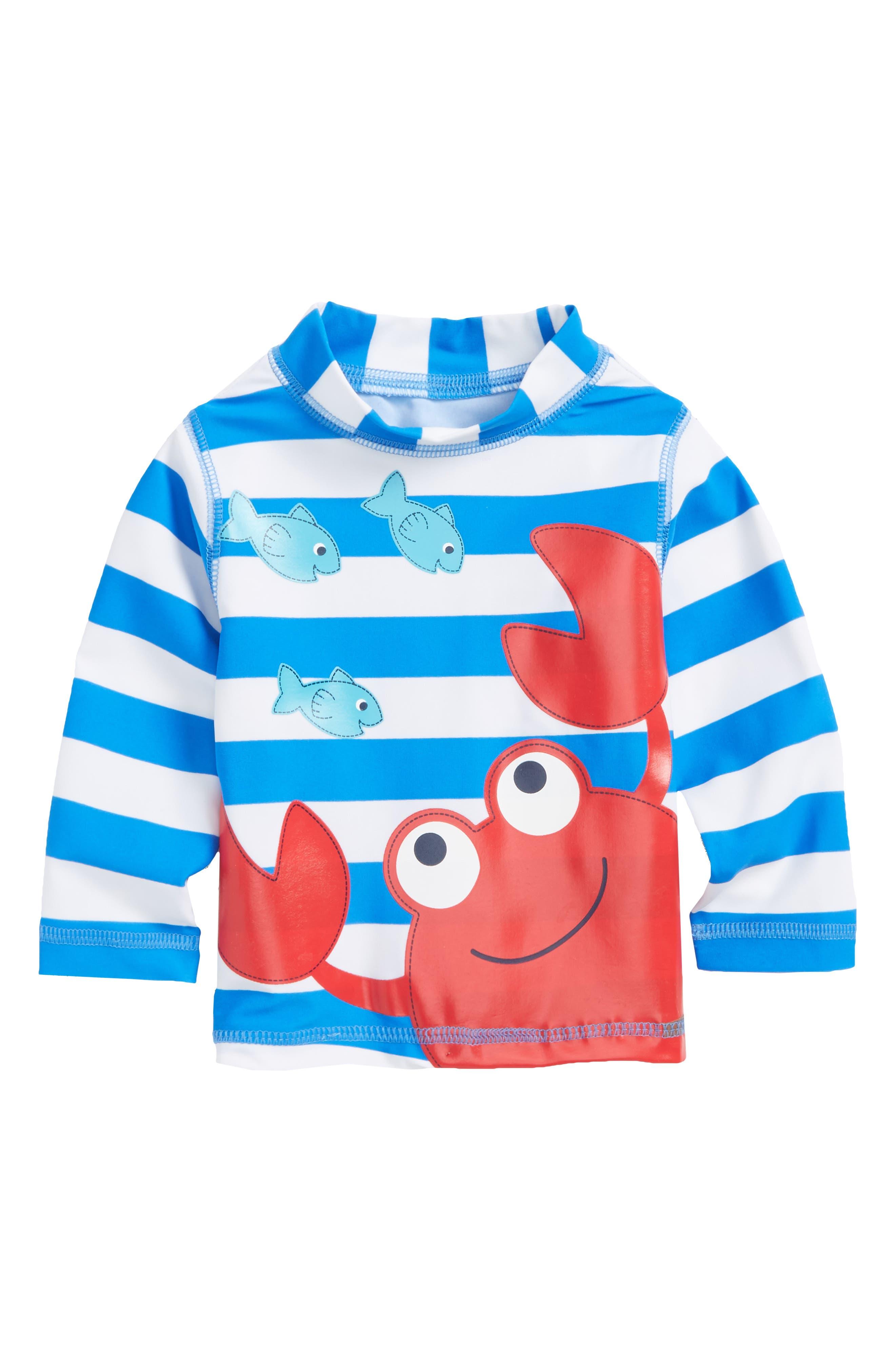 Crab UPF 50+ Rashguard,                         Main,                         color, Blue Stripe