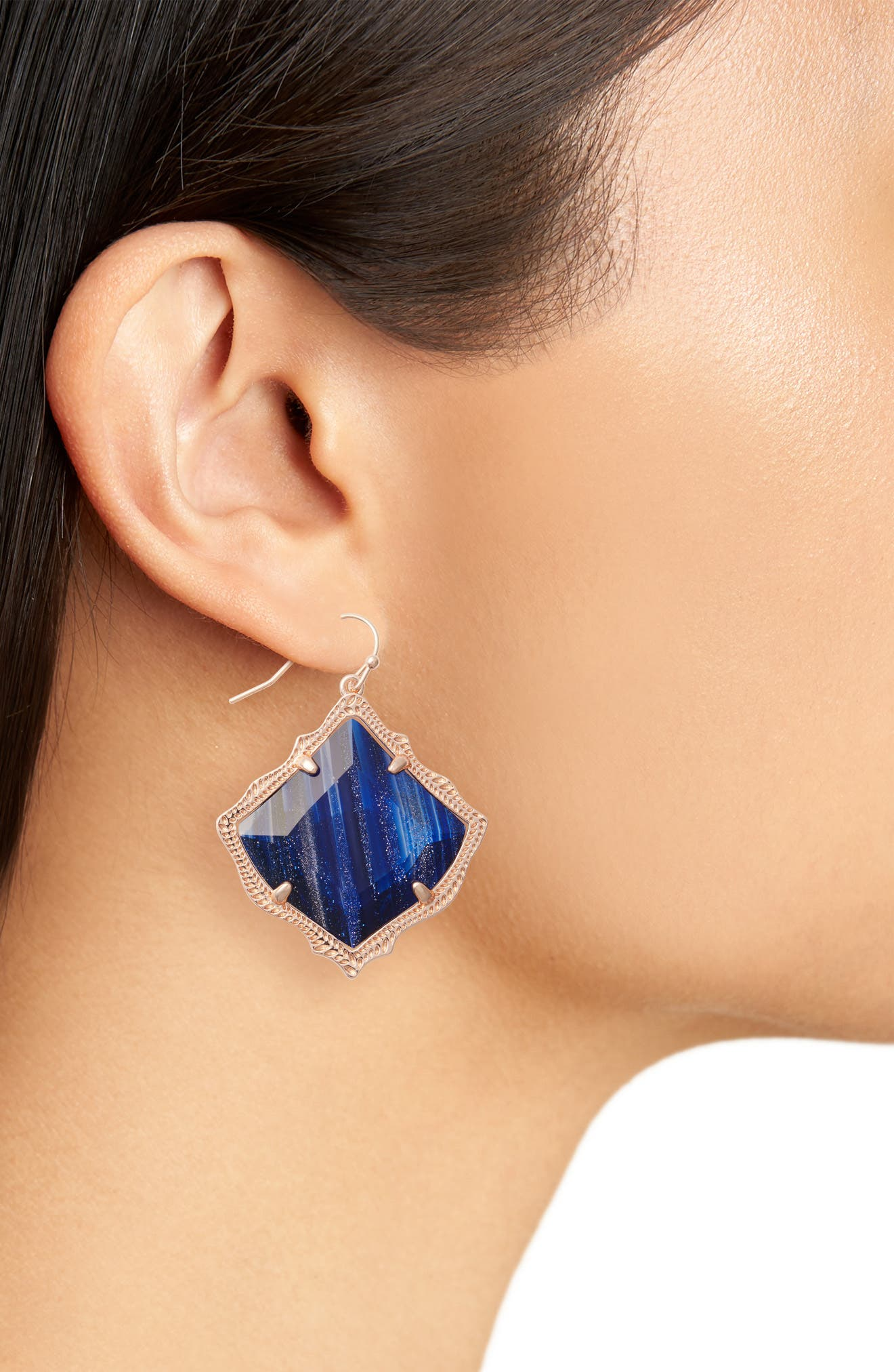 Kirsten Drop Earrings,                             Alternate thumbnail 2, color,                             Navy Dusted Glass/ Rose Gold