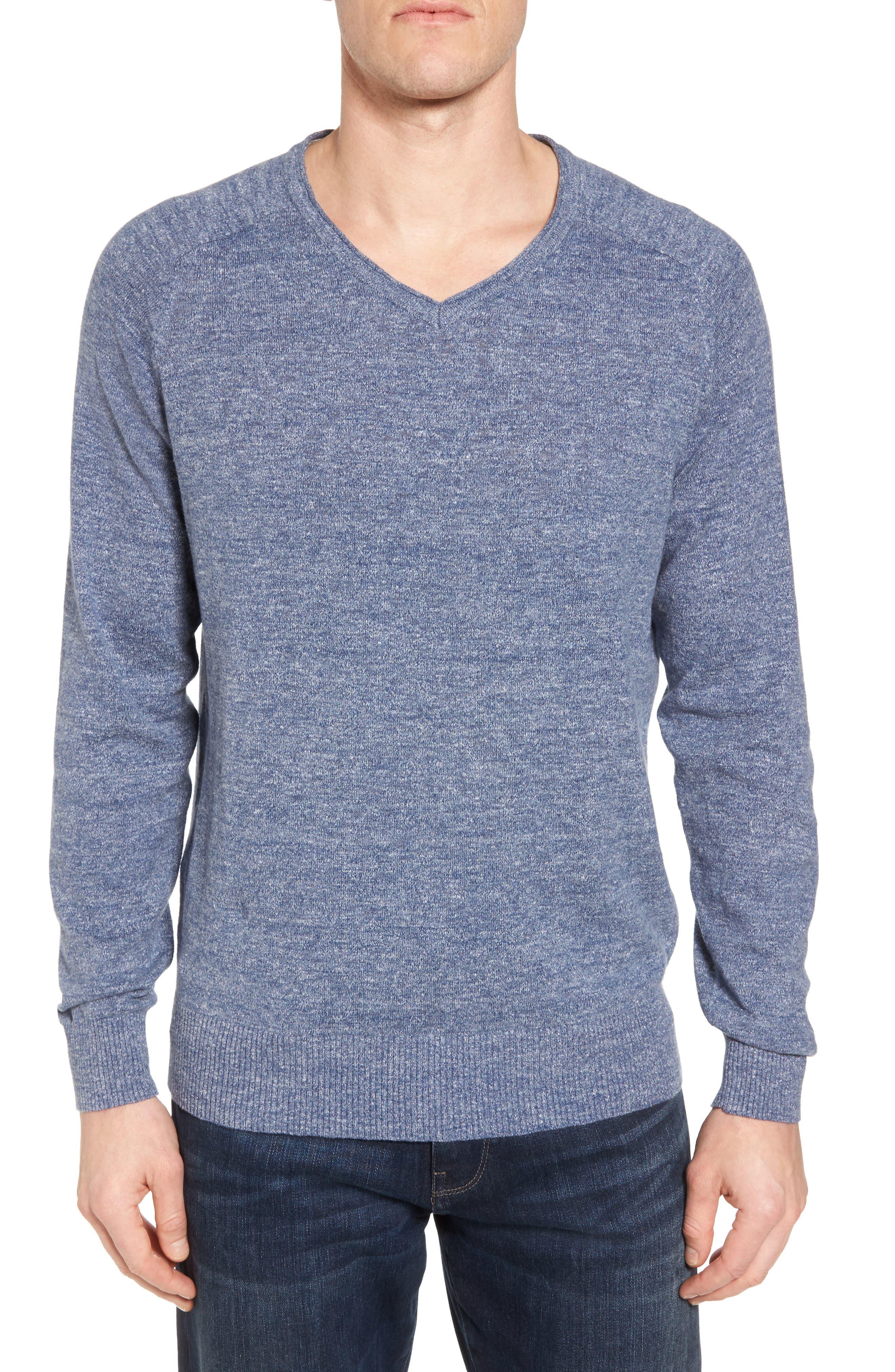 Arbors Cotton V-Neck Sweater,                             Main thumbnail 1, color,                             Riviera