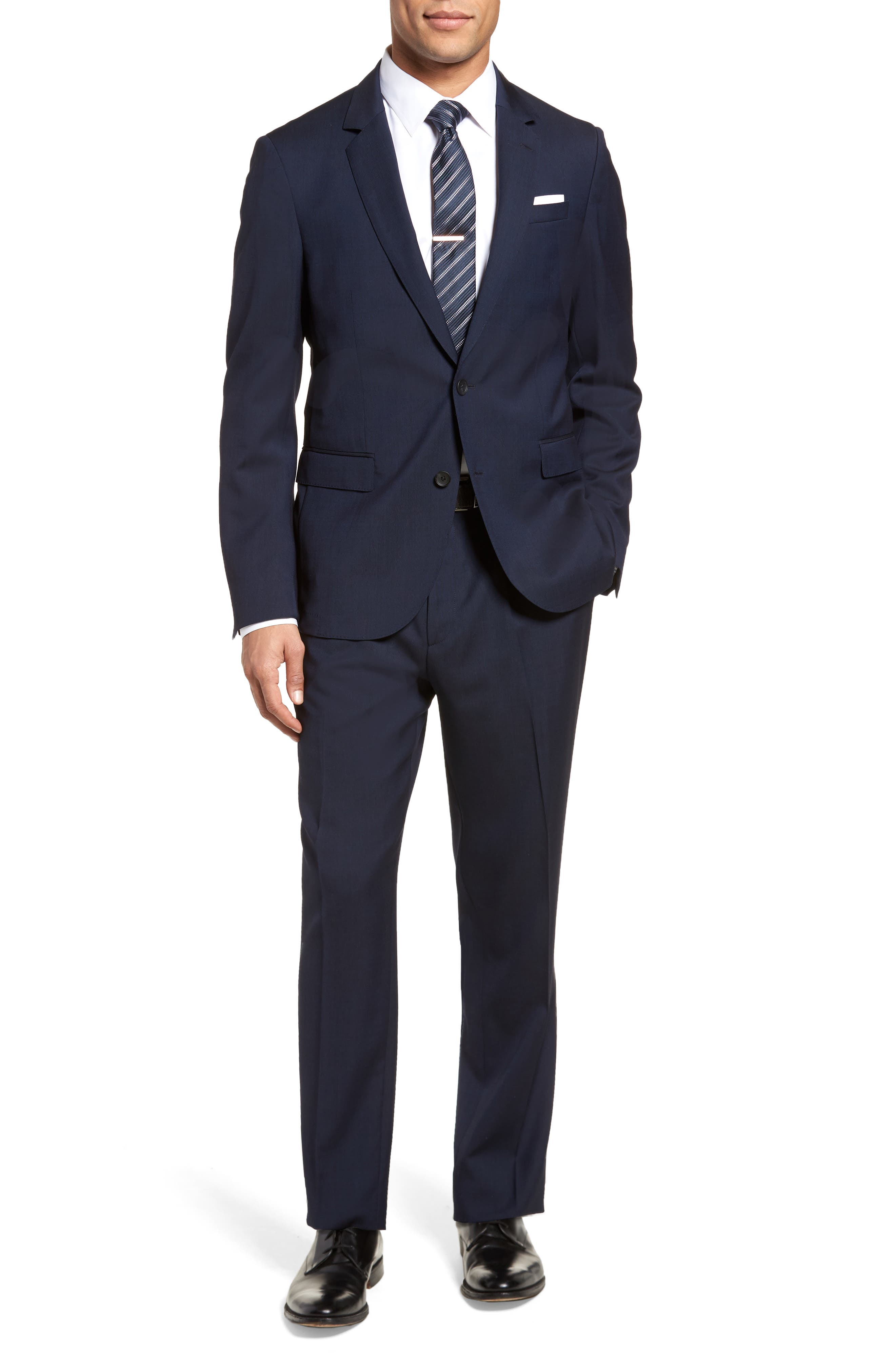 Nylen/Perry Trim Fit Solid Wool Suit,                         Main,                         color, Navy