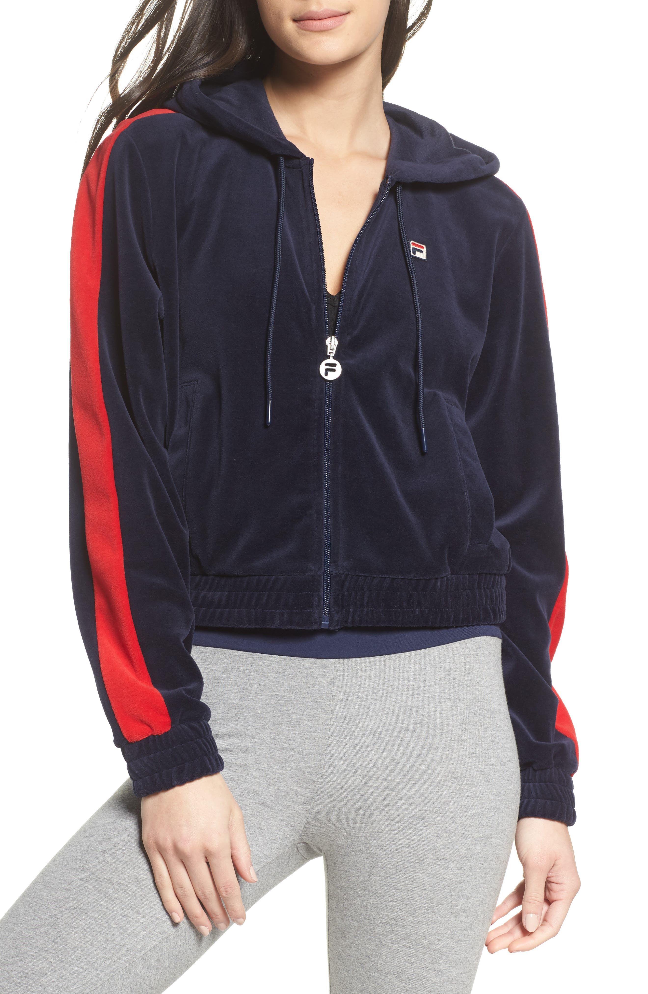 Carly Velour Hoodie,                         Main,                         color, Navy/ Chinese Red