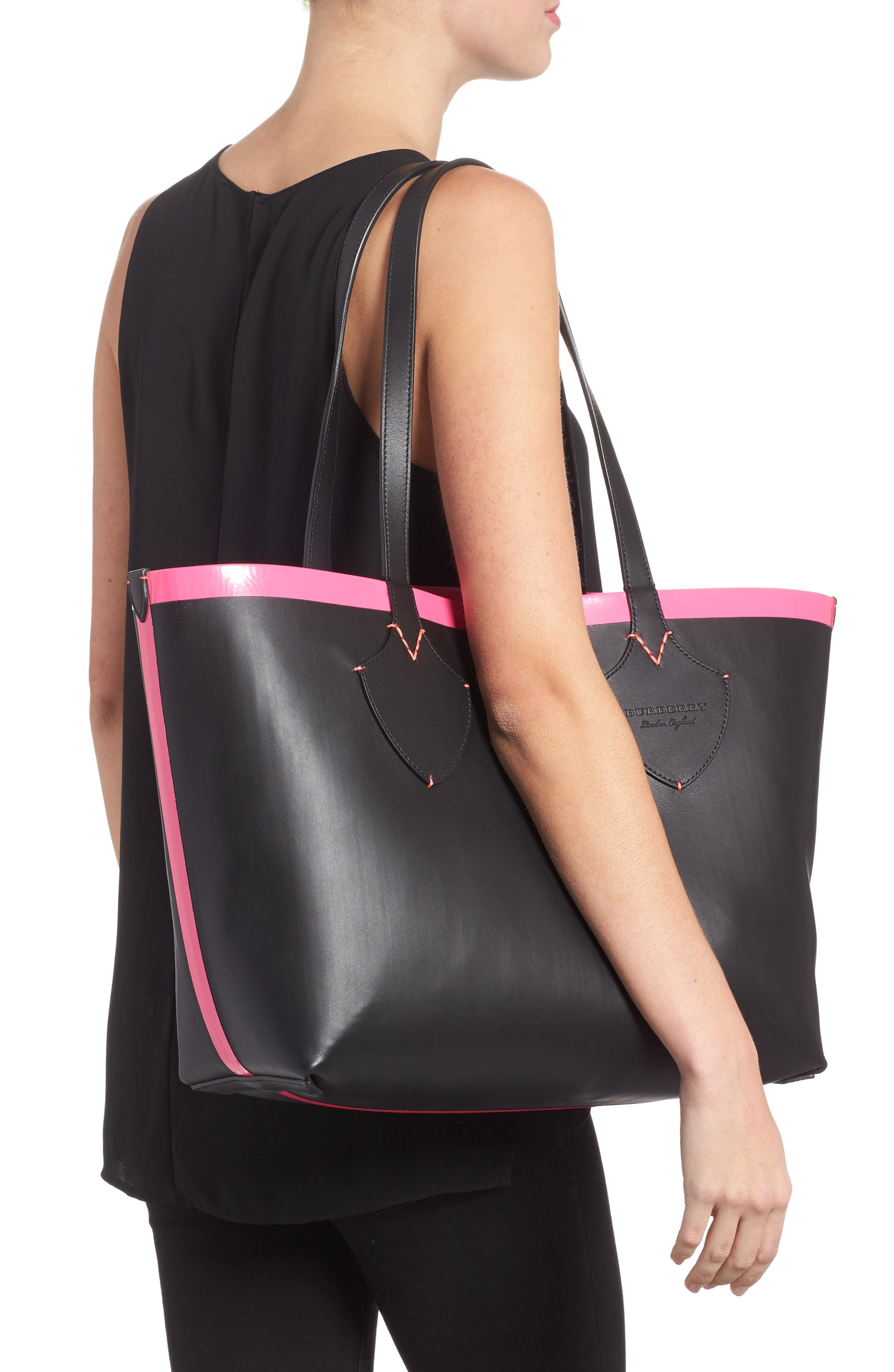 Medium Reversible Check Canvas & Leather Tote,                             Alternate thumbnail 2, color,                             Black/ Neon Pink