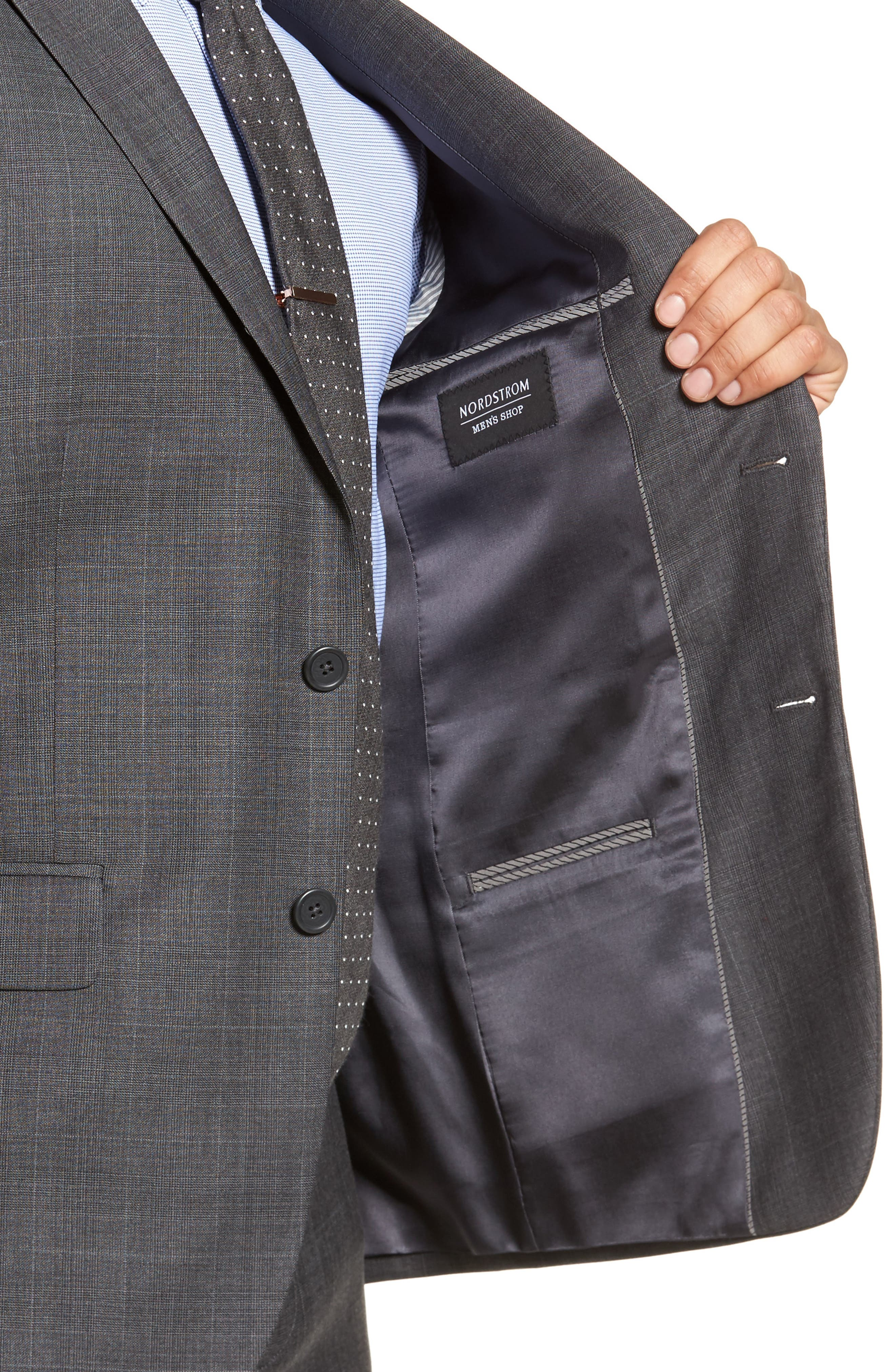 Extra Trim Fit Plaid Wool Suit,                             Alternate thumbnail 4, color,                             Grey