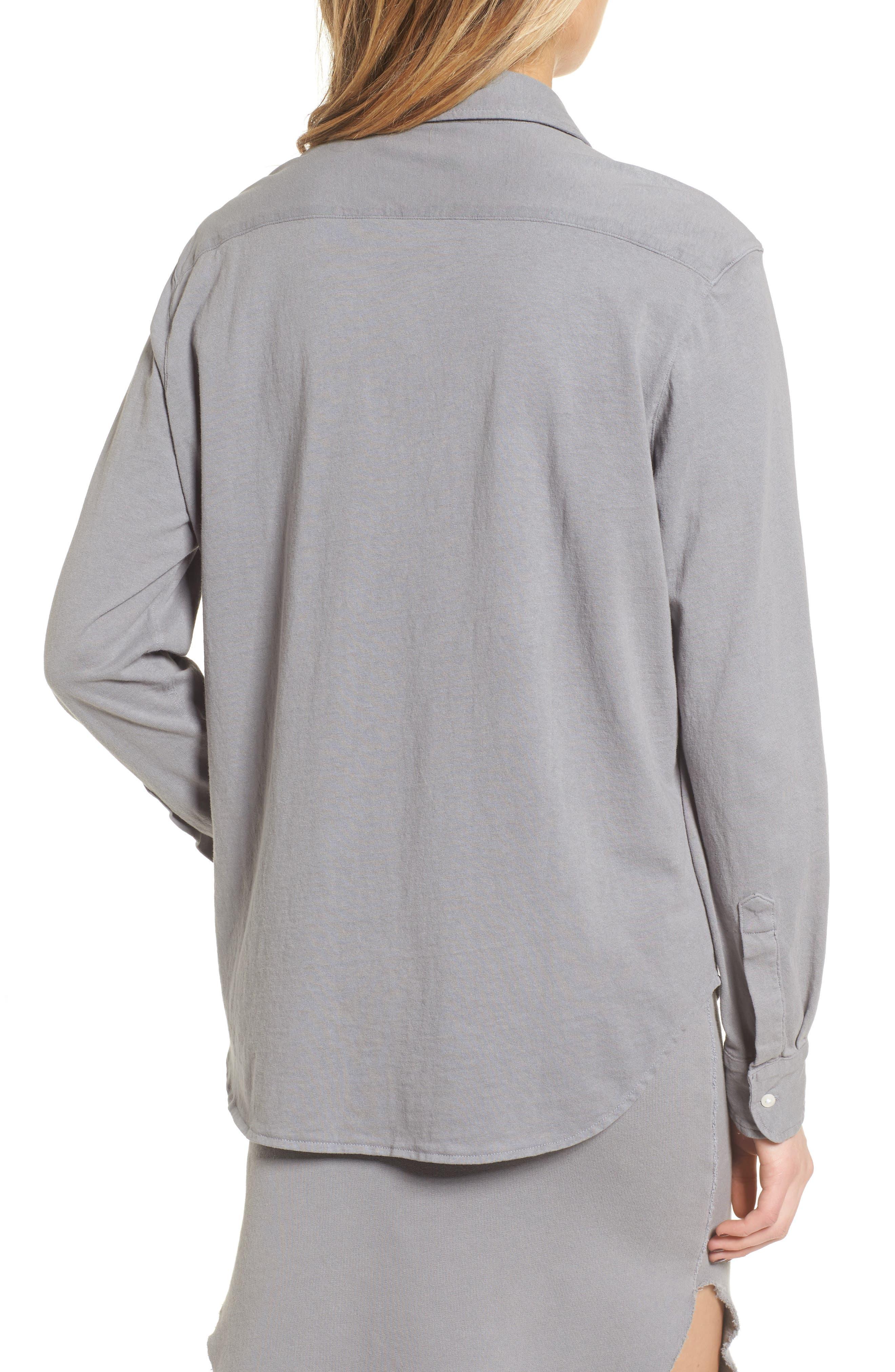Tee Lab Knit Button Down Shirt,                             Alternate thumbnail 2, color,                             Shadow