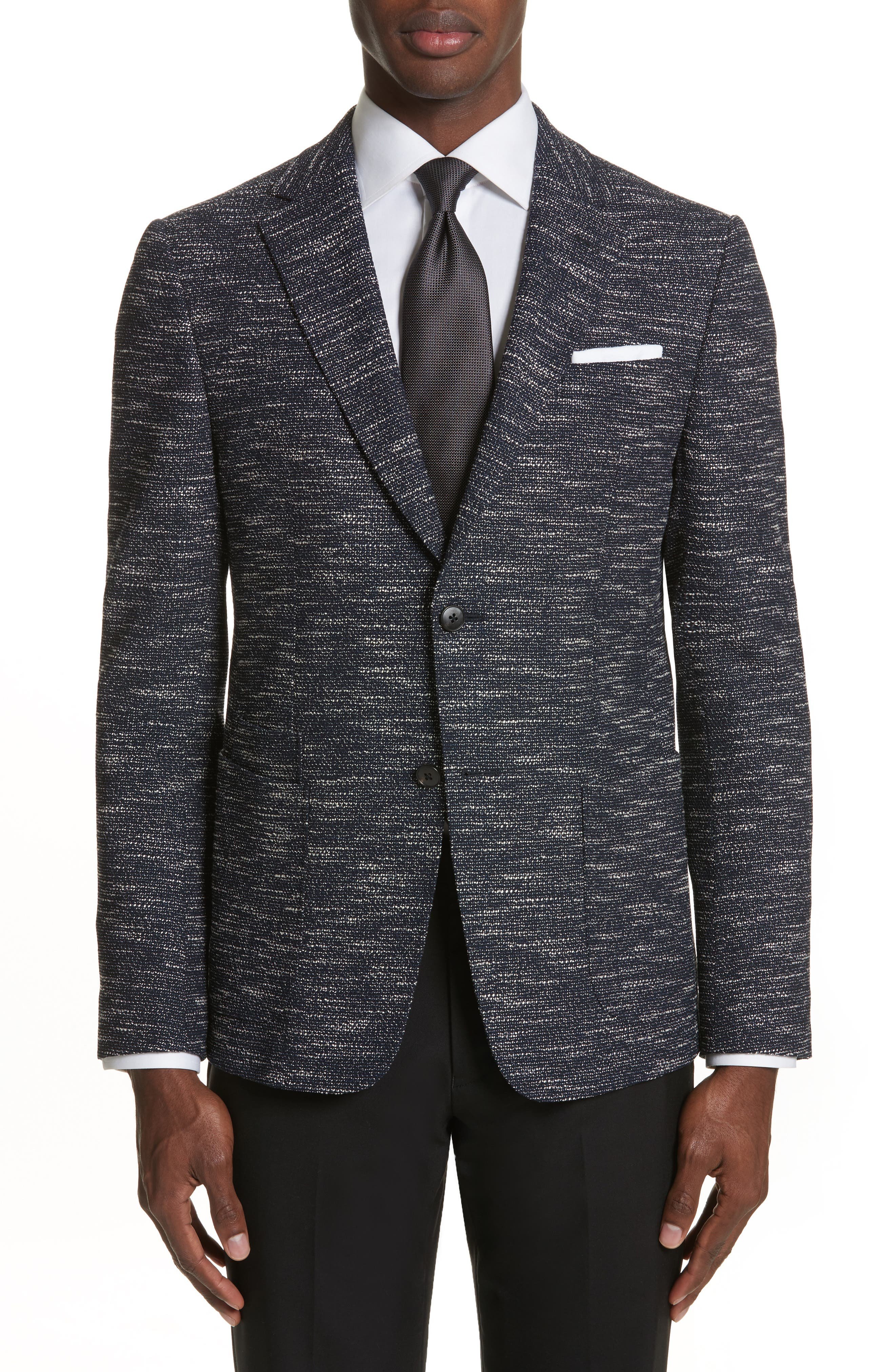 Classic Fit Stretch Wool Blend Blazer,                         Main,                         color, Navy Solid