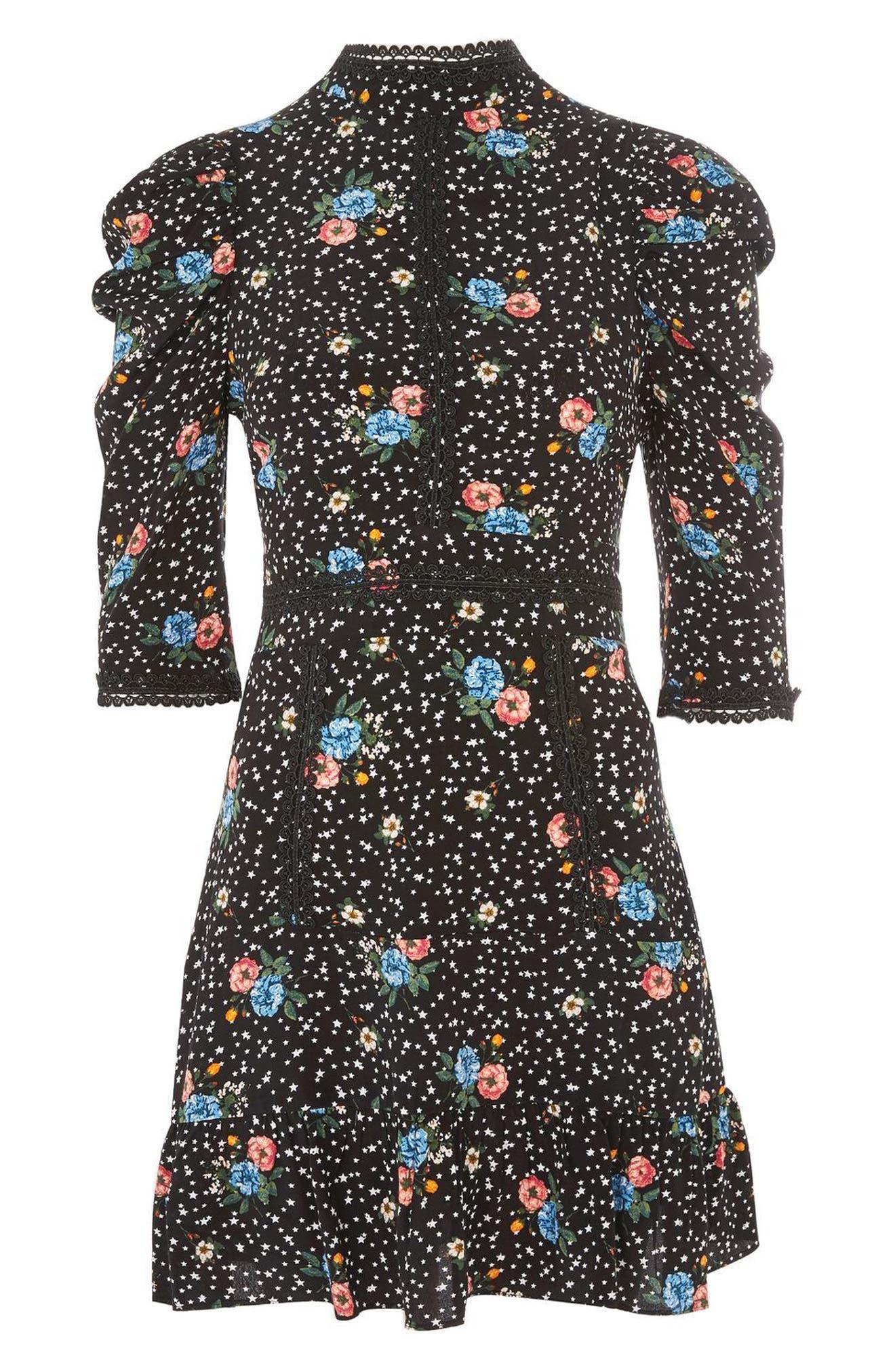 Lace-Up Back Floral Dress,                             Alternate thumbnail 4, color,                             Black Multi