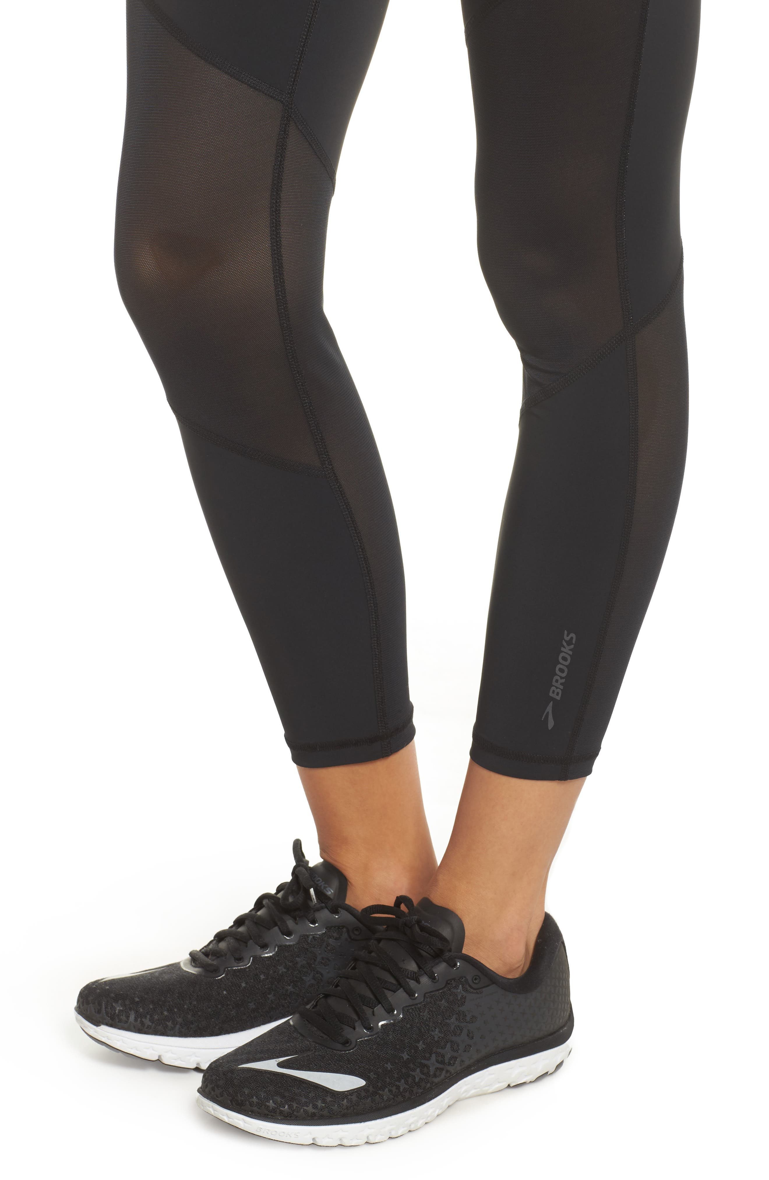 Ghost High Waist Mesh Crop Leggings,                             Alternate thumbnail 4, color,                             Black