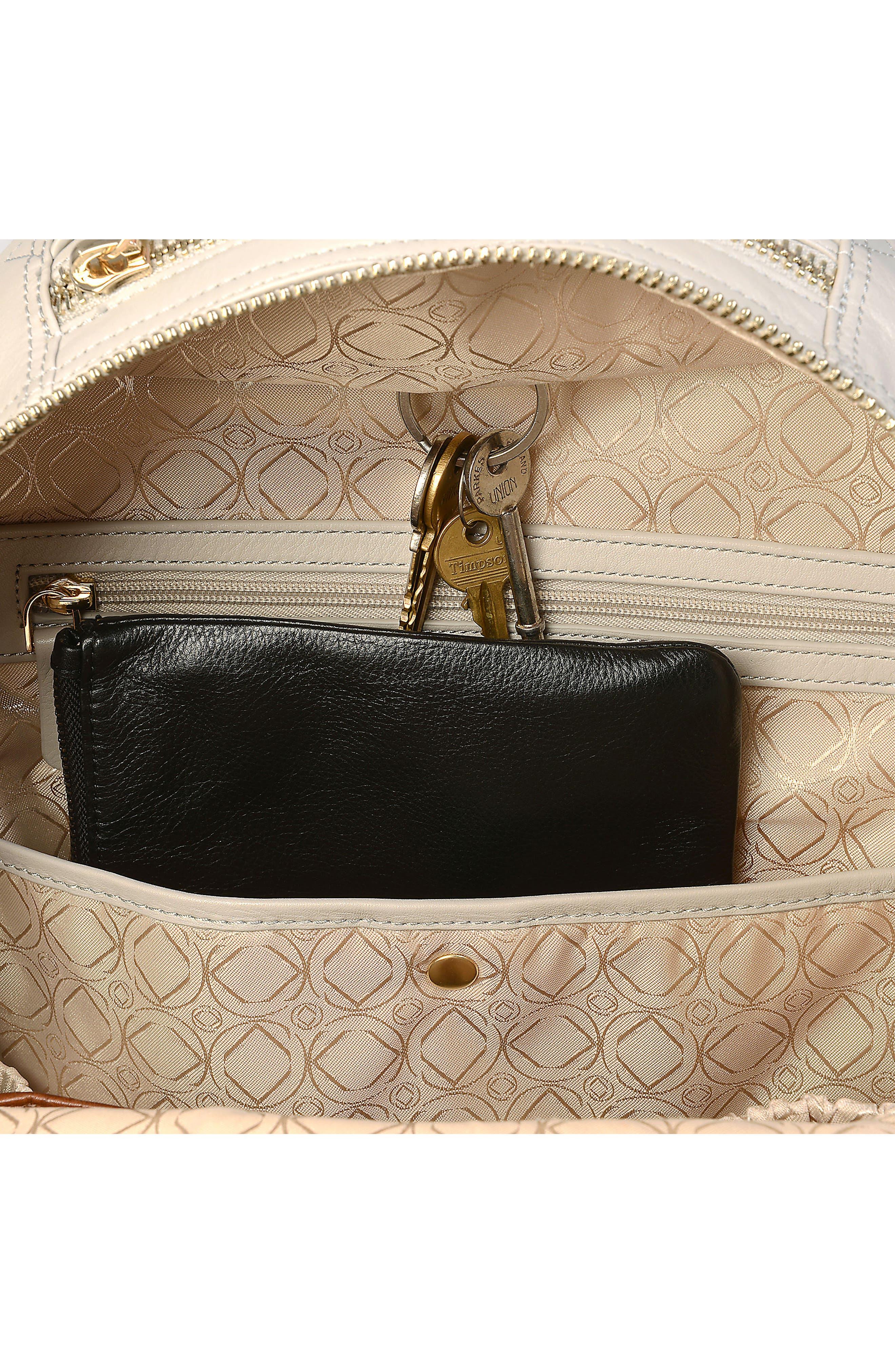 Joy XL Leather Backpack,                             Alternate thumbnail 9, color,                             Ice Grey