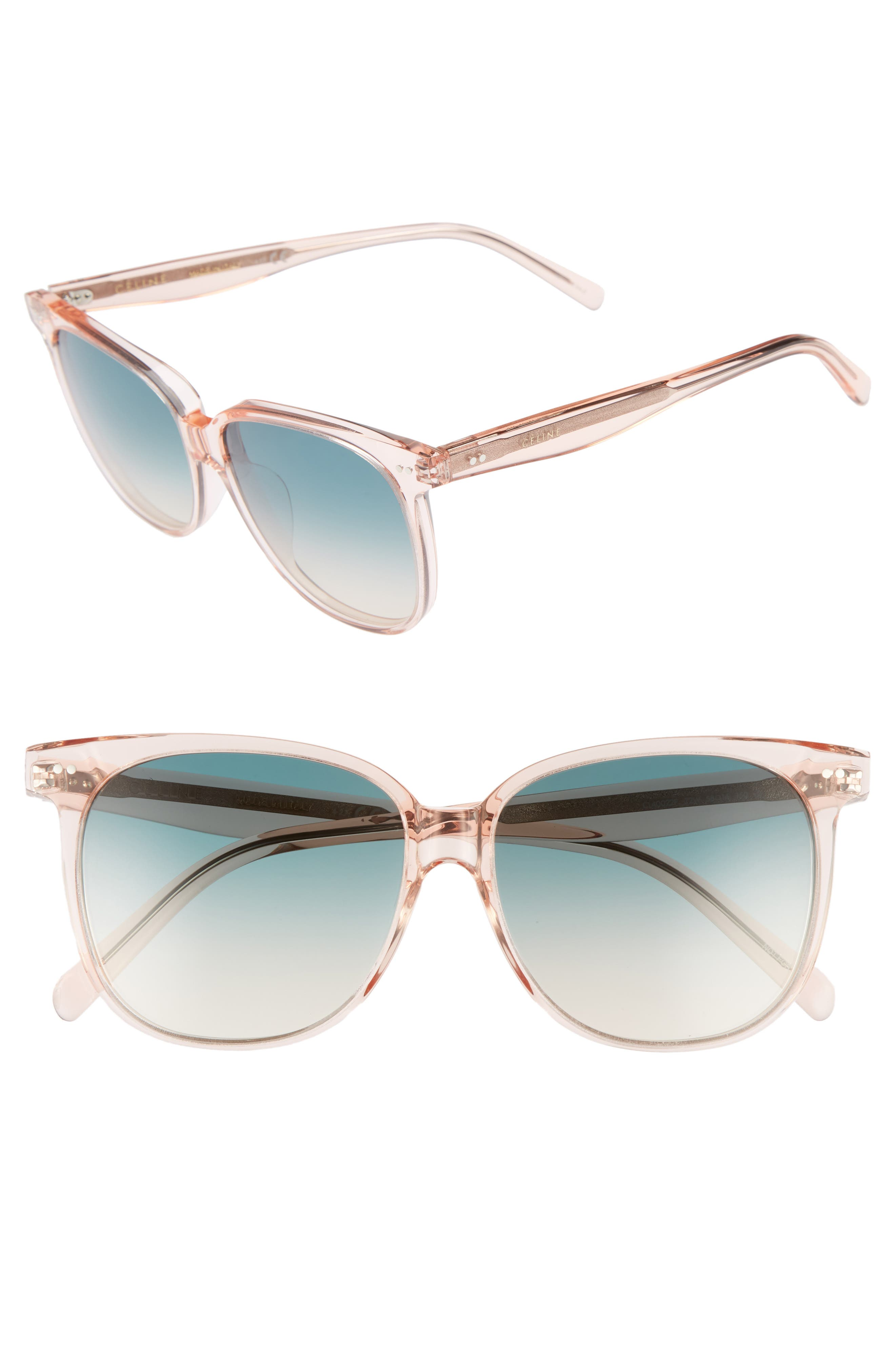 Special Fit 58mm Square Sunglasses,                         Main,                         color, Baby Pink/ Turquoise