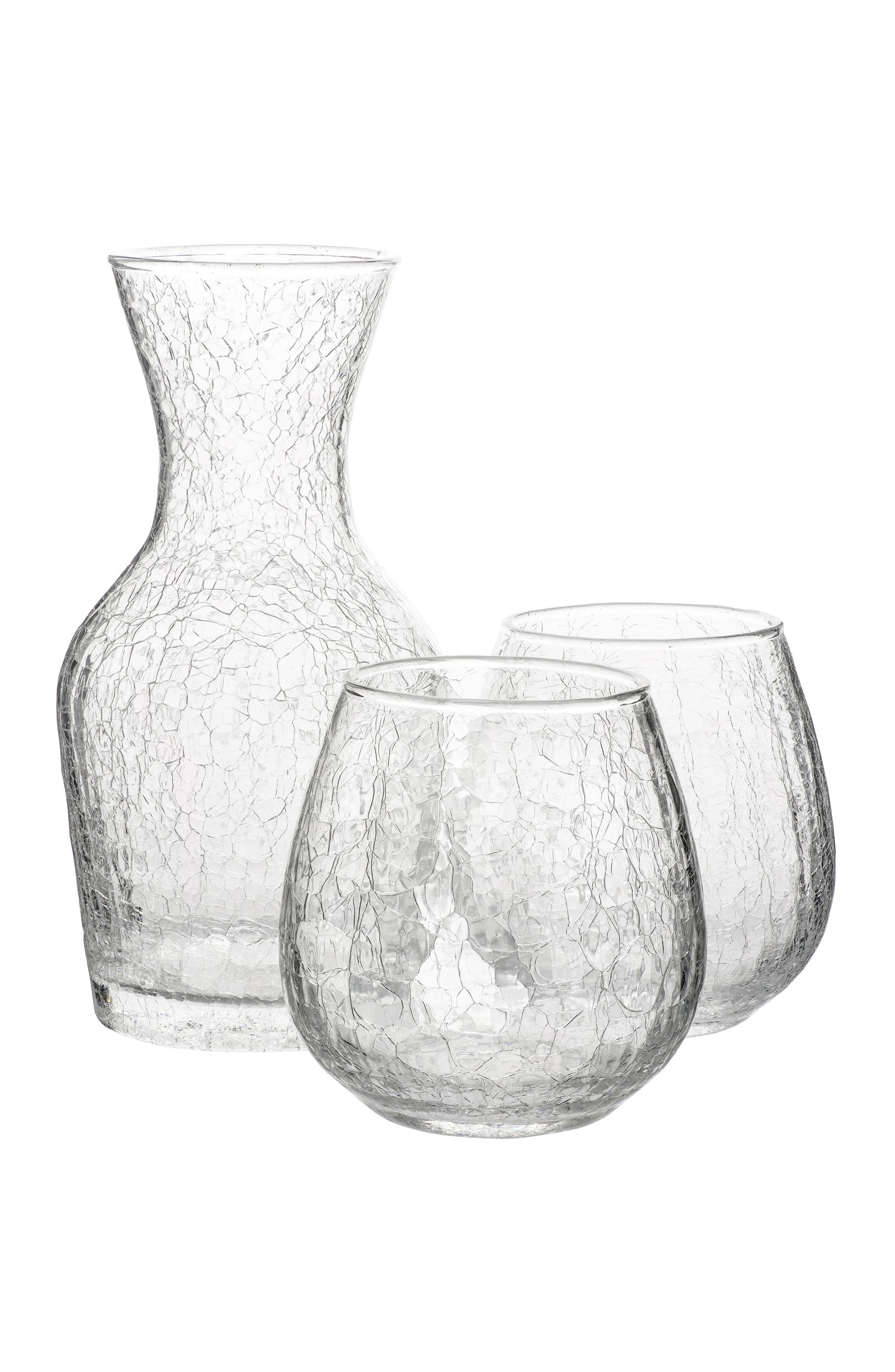 Hugo 3-Piece Carafe & Glasses Set,                             Main thumbnail 1, color,                             Clear