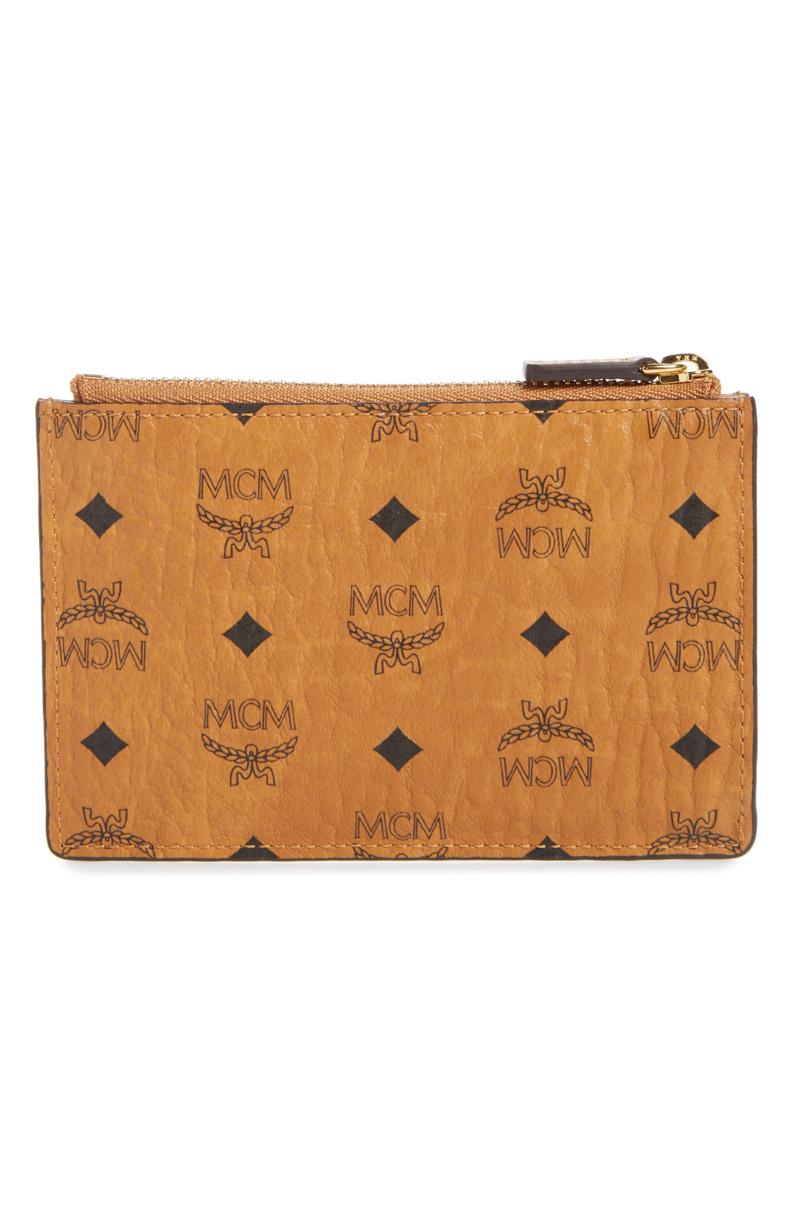 Mini Visetos Original Key Pouch,                             Alternate thumbnail 3, color,                             Cognac