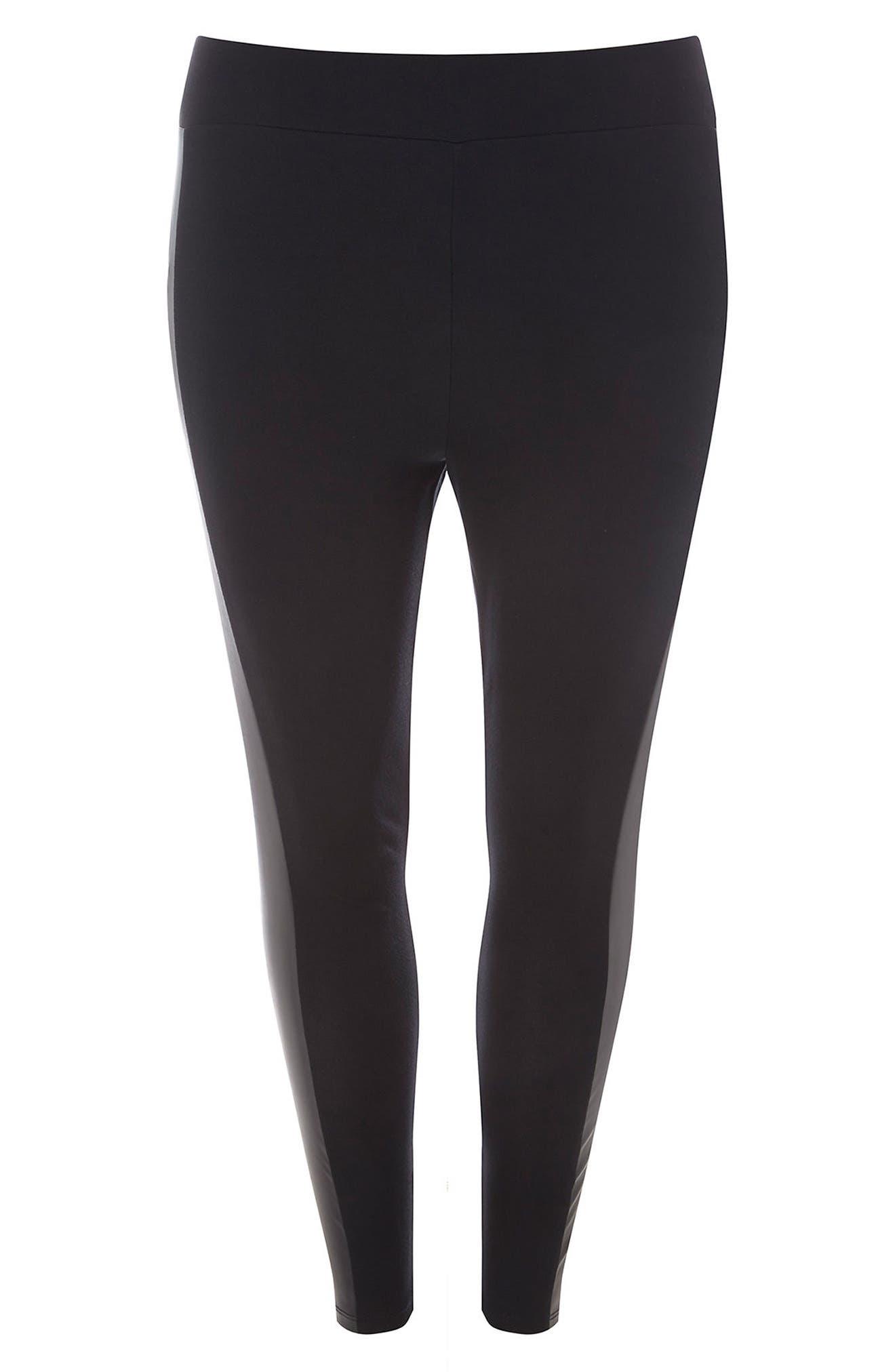 Faux Leather Panel Ponte Knit Leggings,                             Alternate thumbnail 4, color,                             Black