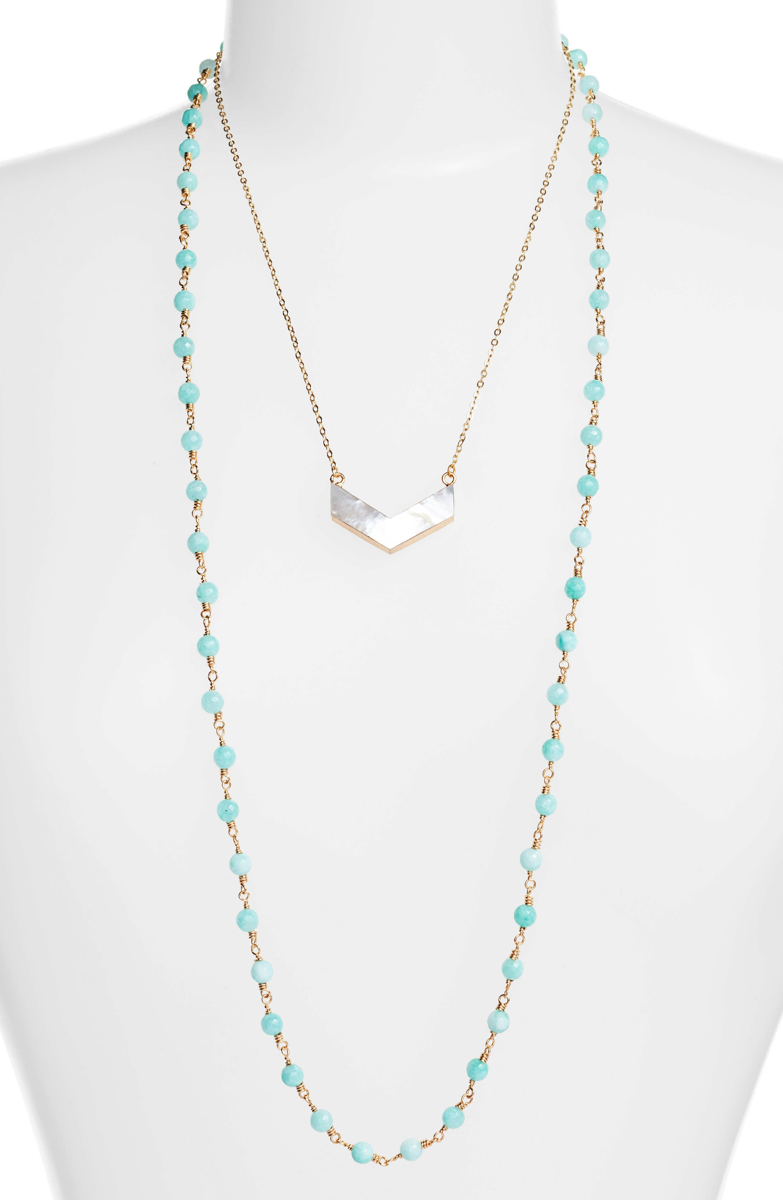 Julia Double Strand Necklace,                             Main thumbnail 1, color,                             Amazonite/ Pearl