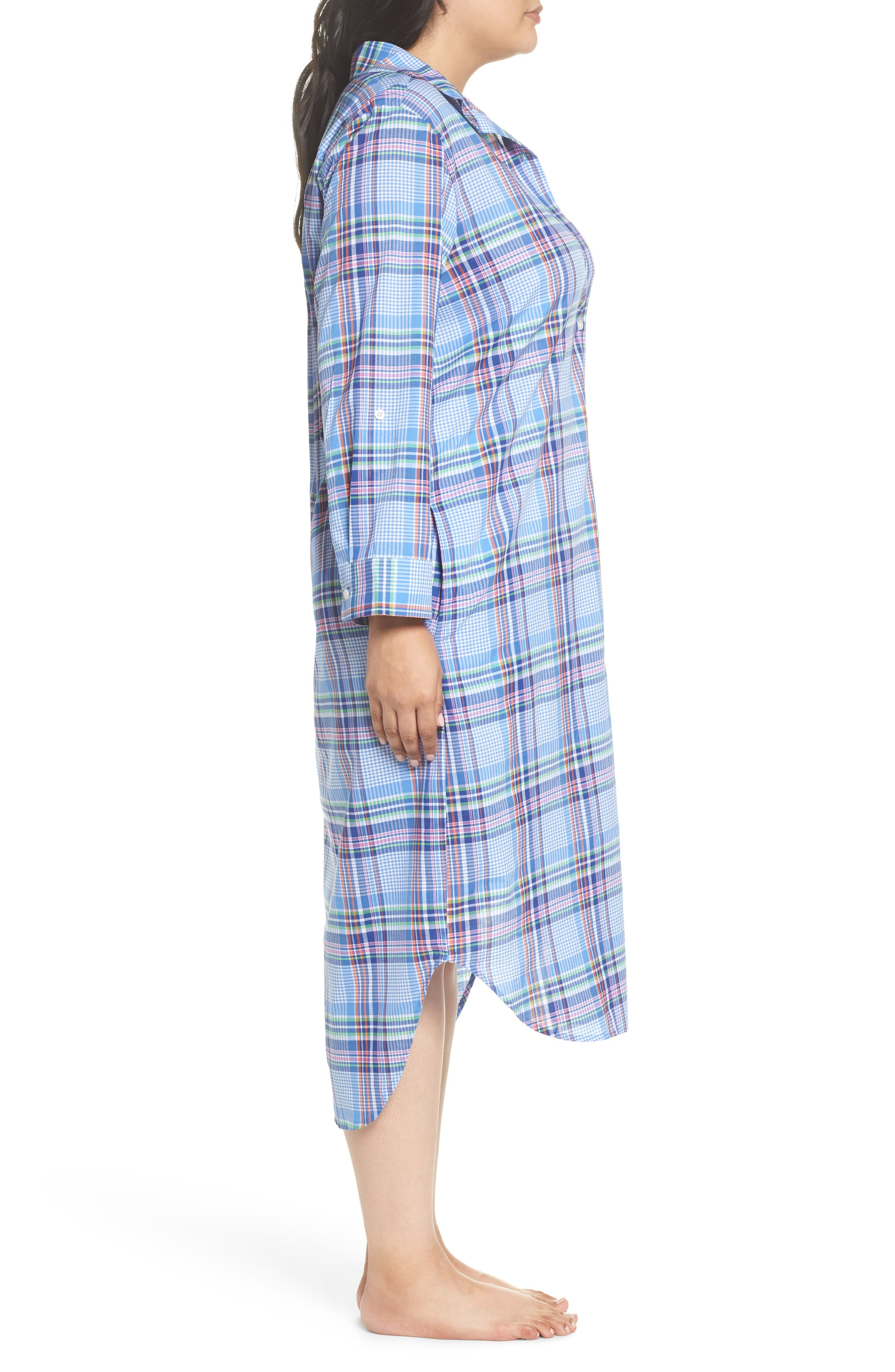 Ballet Plaid Sleep Shirt,                             Alternate thumbnail 3, color,                             Blue Plaid