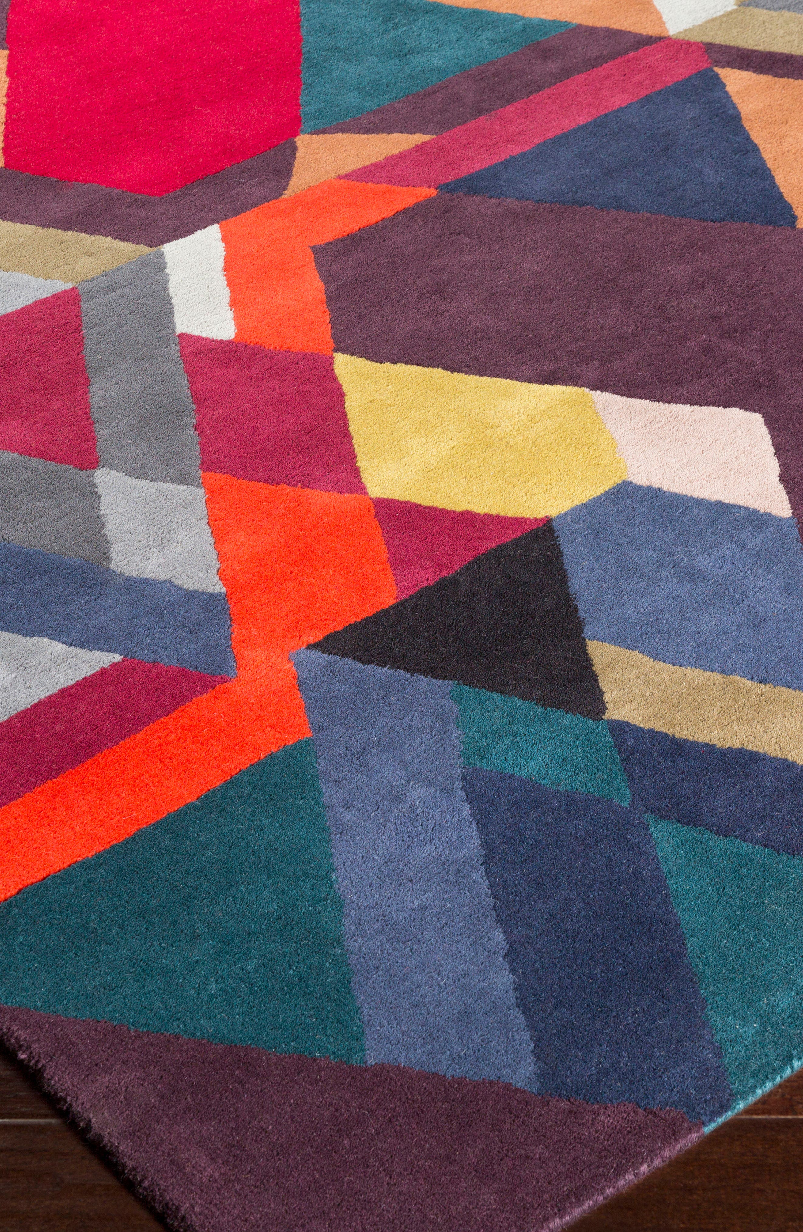 x Surya Iconic Wool Area Rug,                             Alternate thumbnail 2, color,                             Purple