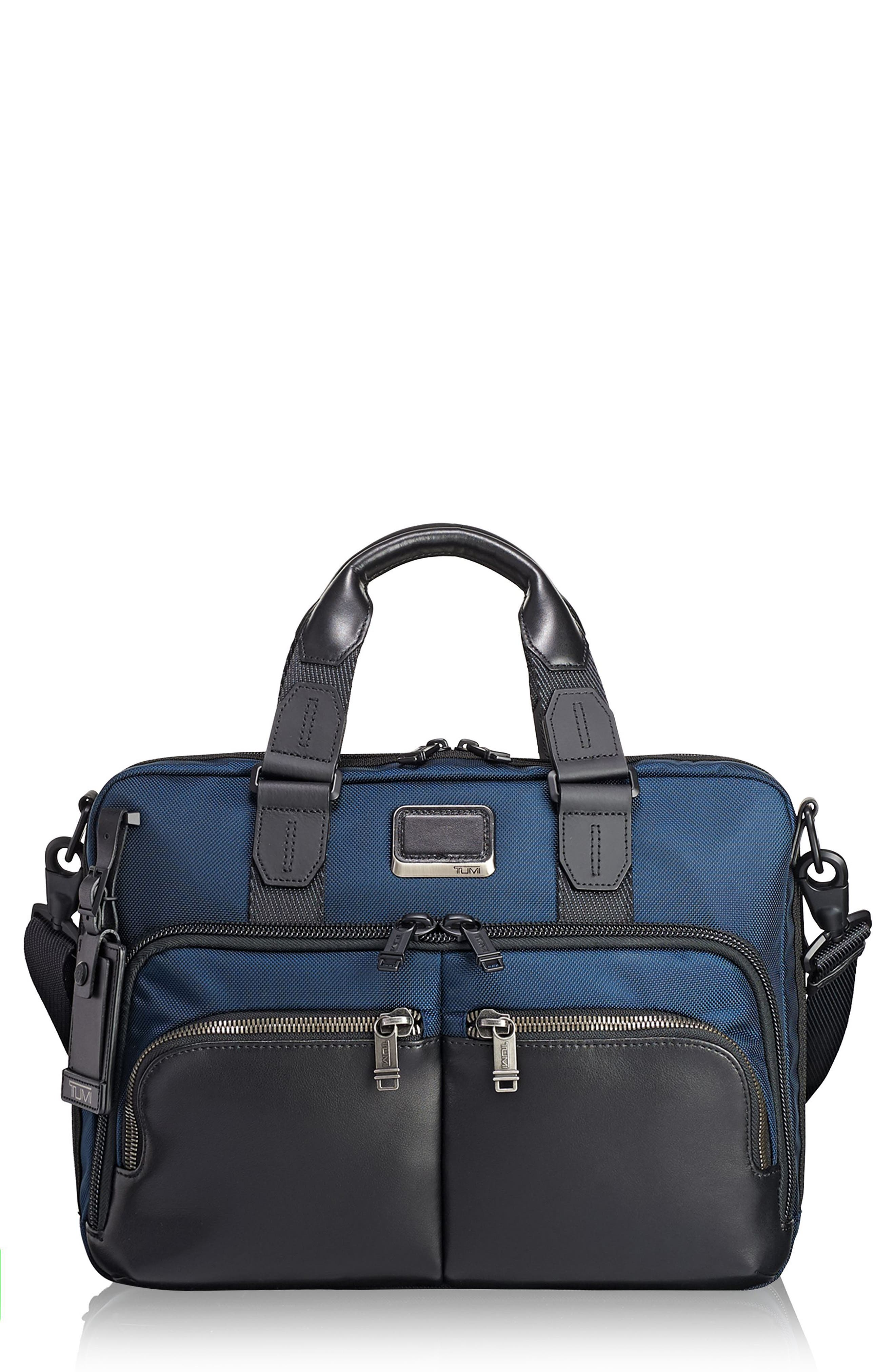 Alpha Bravo - Albany Slim Commuter Briefcase,                         Main,                         color, Navy