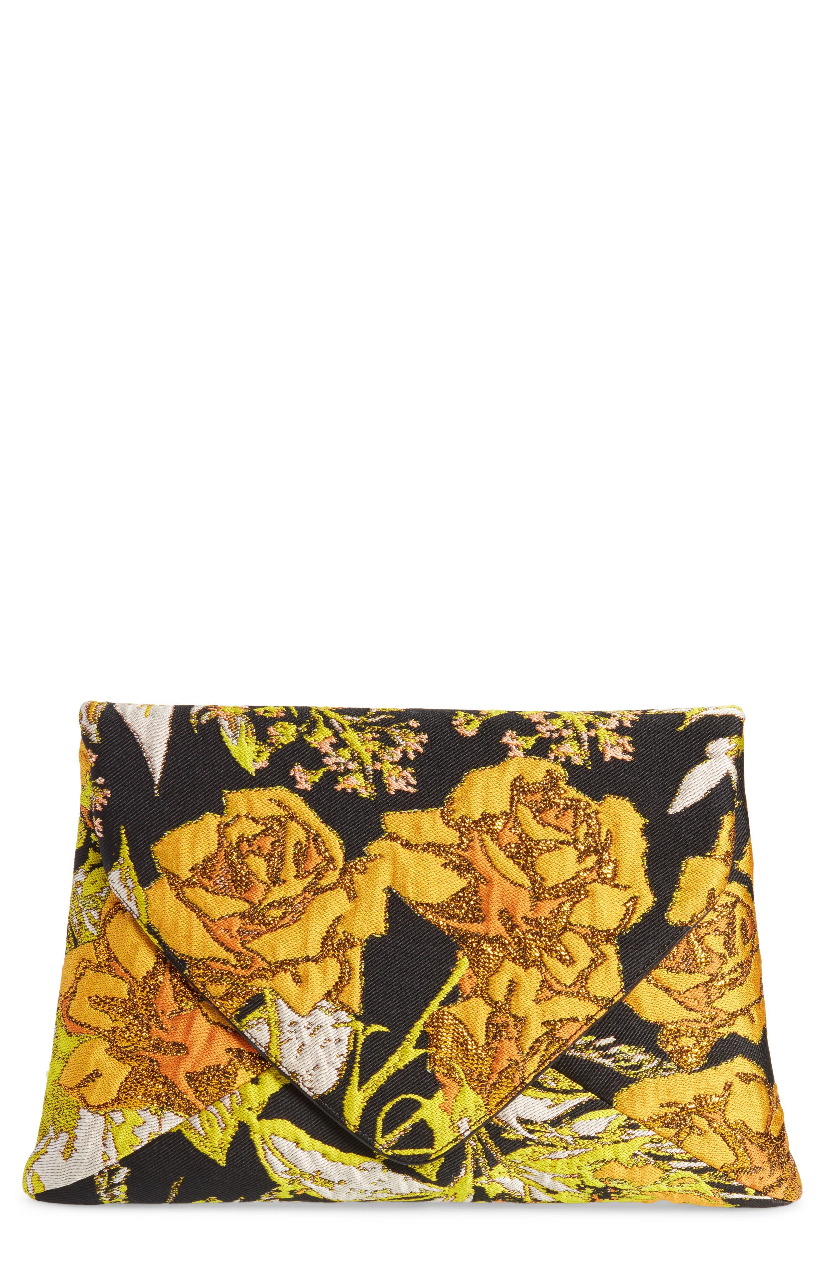 Alternate Image 1 Selected - Dries Van Noten Floral Jacquard Envelope Clutch