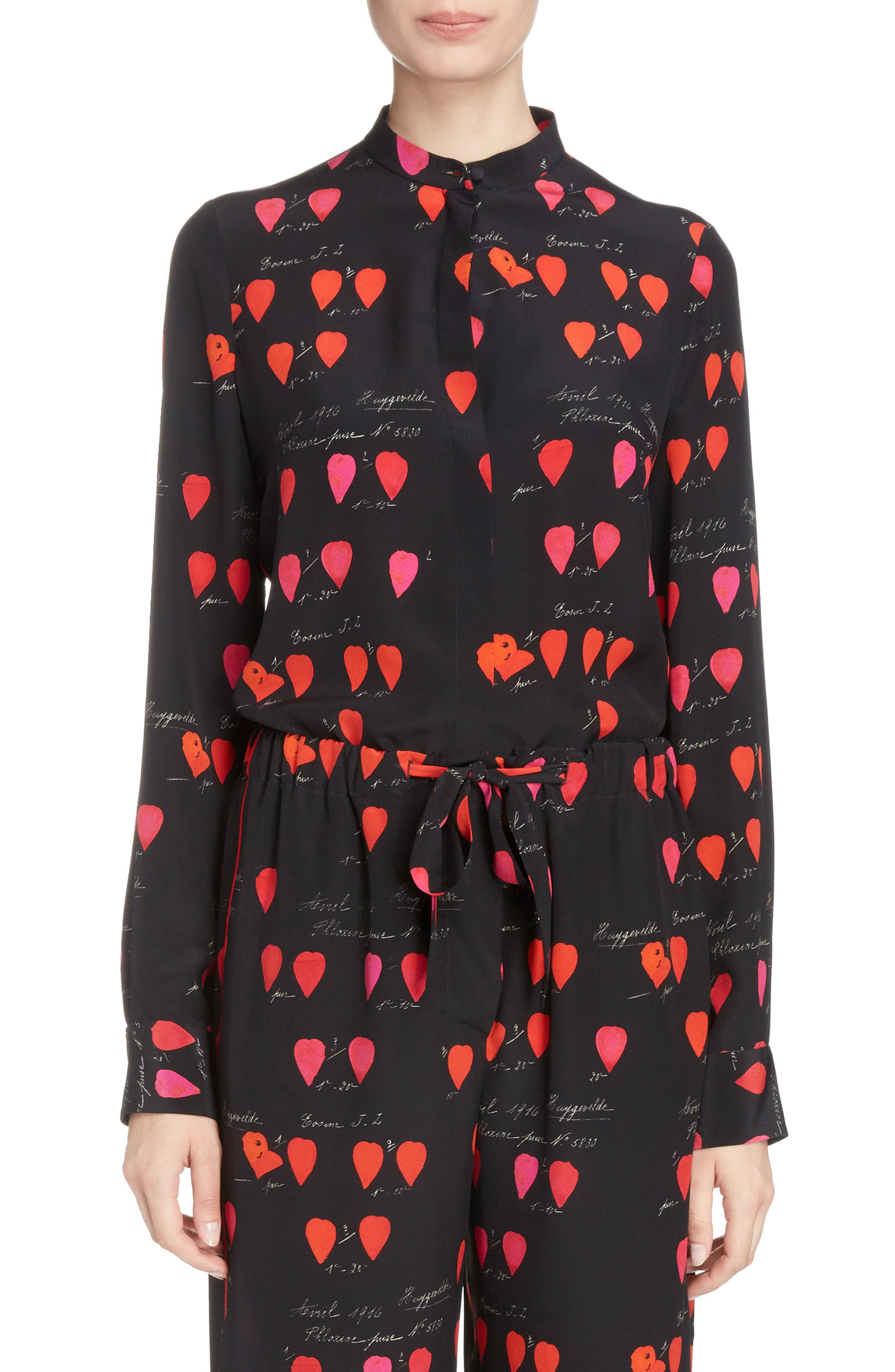 Petal Print Silk Blouse,                         Main,                         color, Black Red Lipstick
