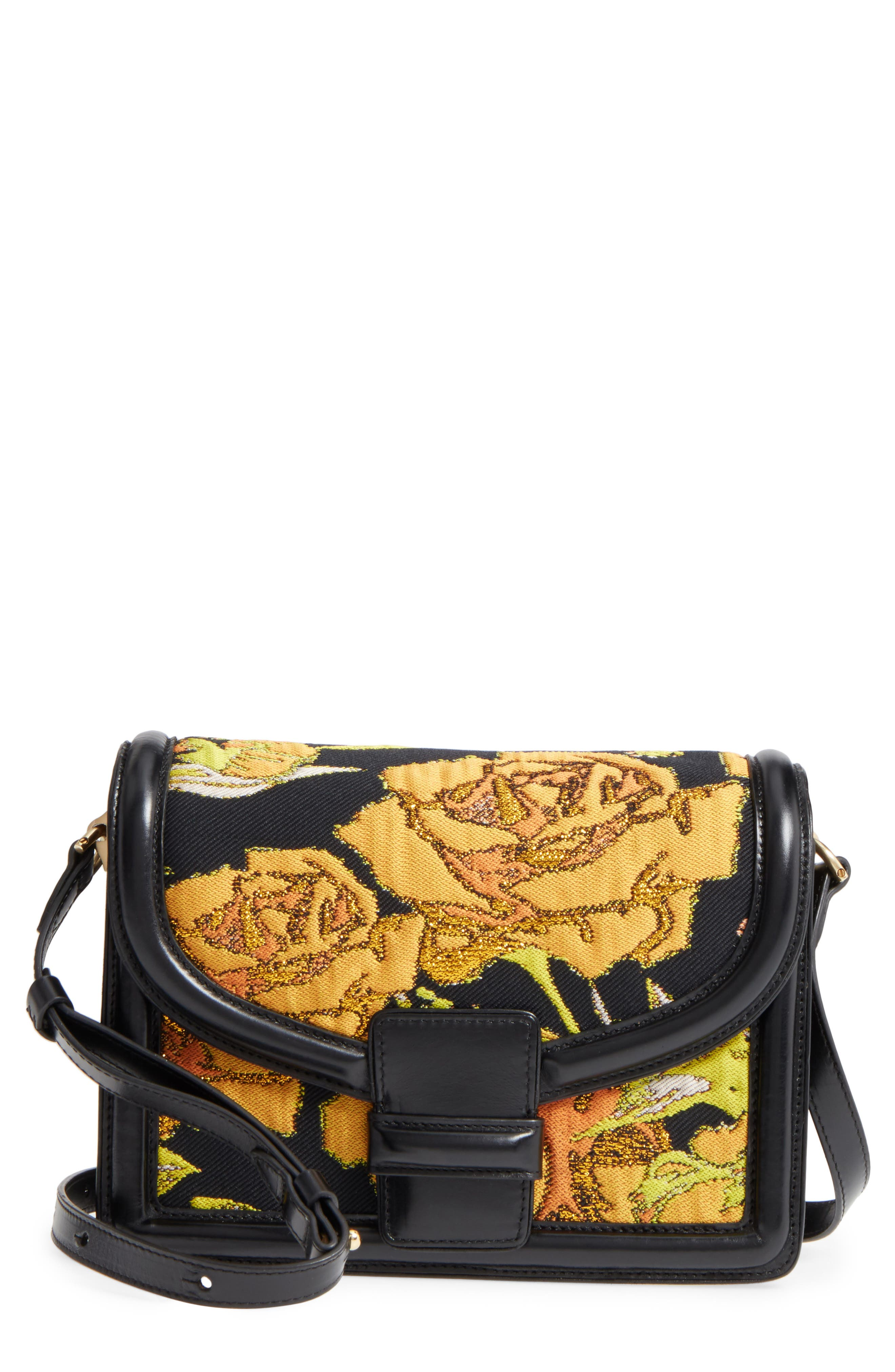 Floral Jacquard & Leather Crossbody Bag,                         Main,                         color, Yellow