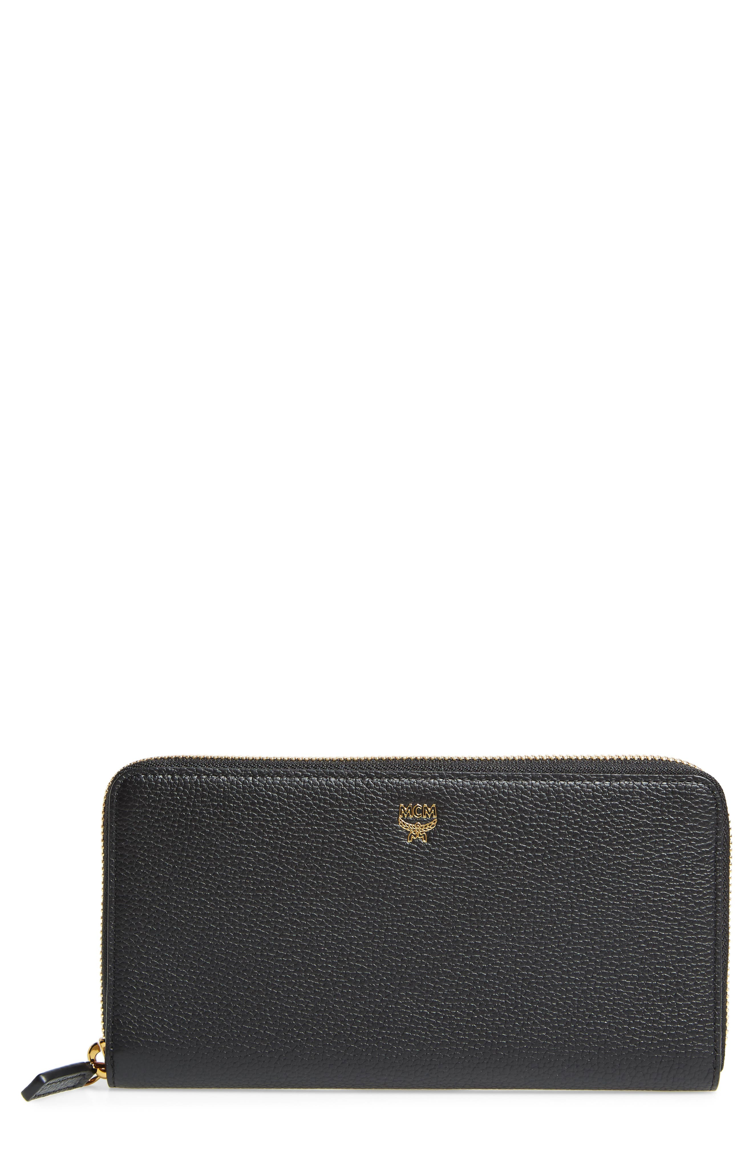 Large Milla Zip-Around Leather Wallet,                         Main,                         color, Black