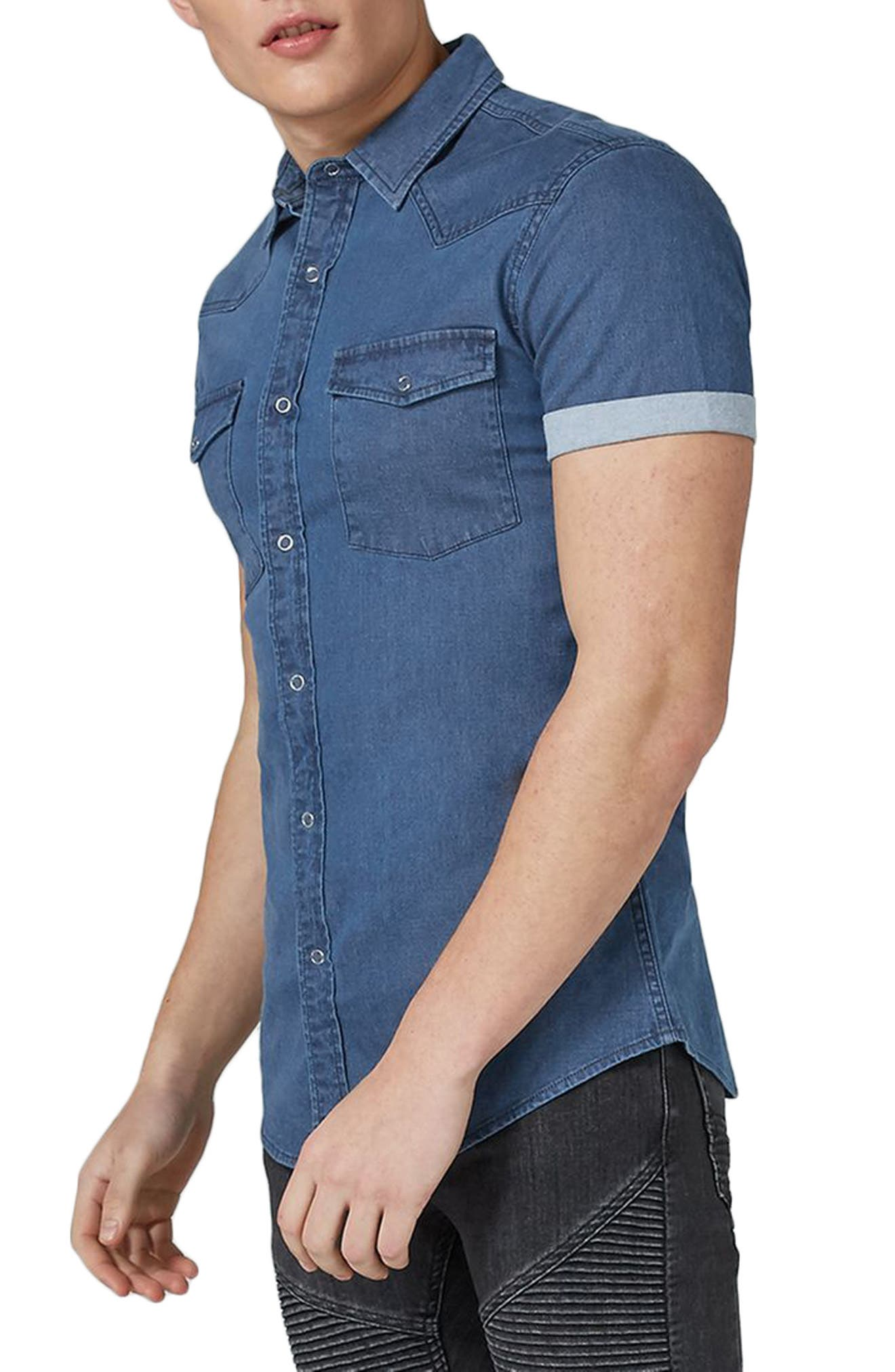 Muscle Fit Denim Shirt,                         Main,                         color, Blue