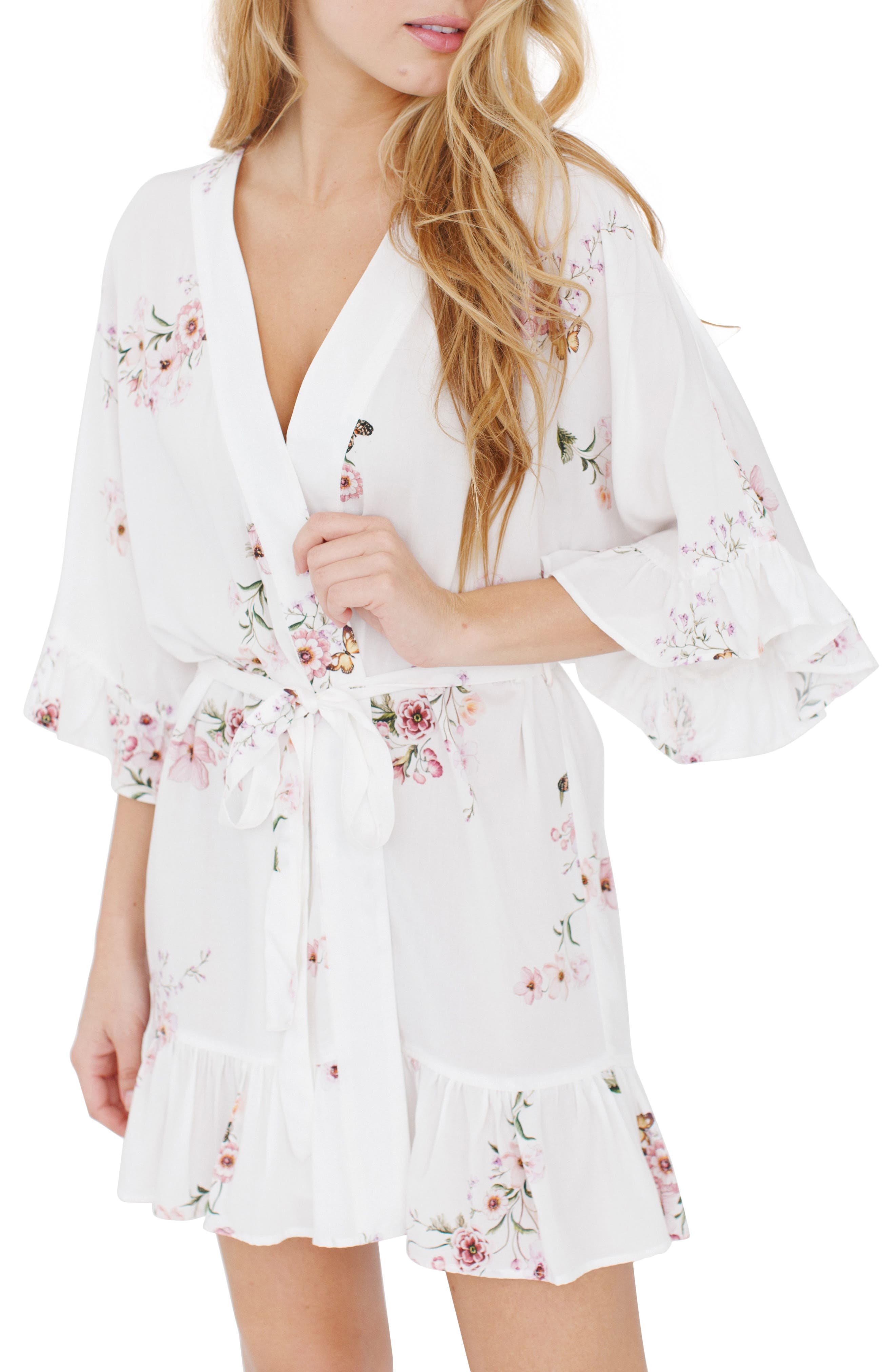 Floral Flutter Robe,                         Main,                         color, The Bee Side