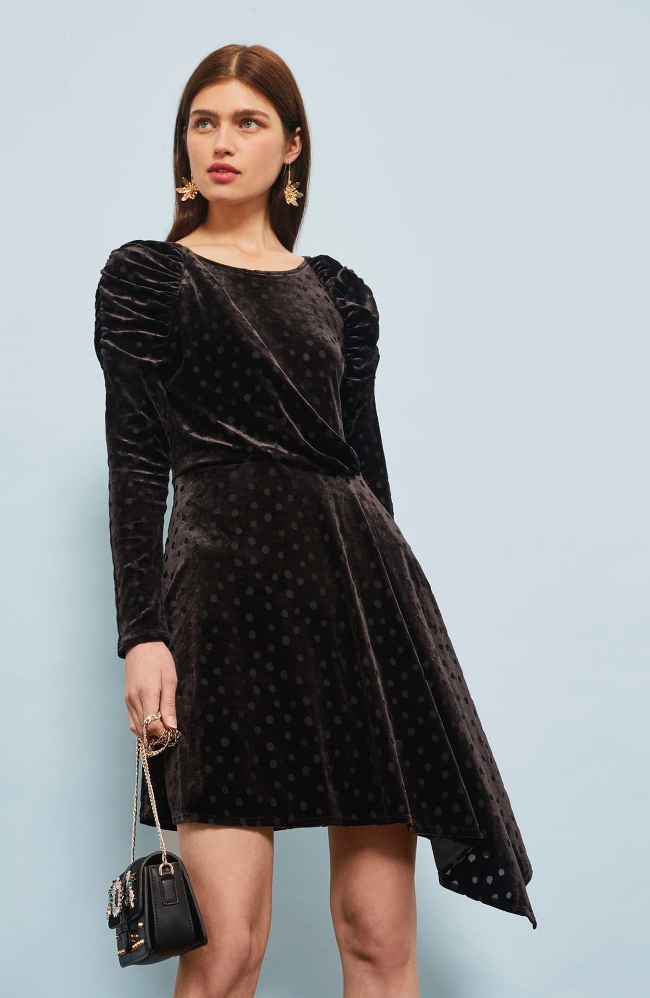 Polka Dot Velvet Burnout Dress,                             Alternate thumbnail 5, color,                             Black