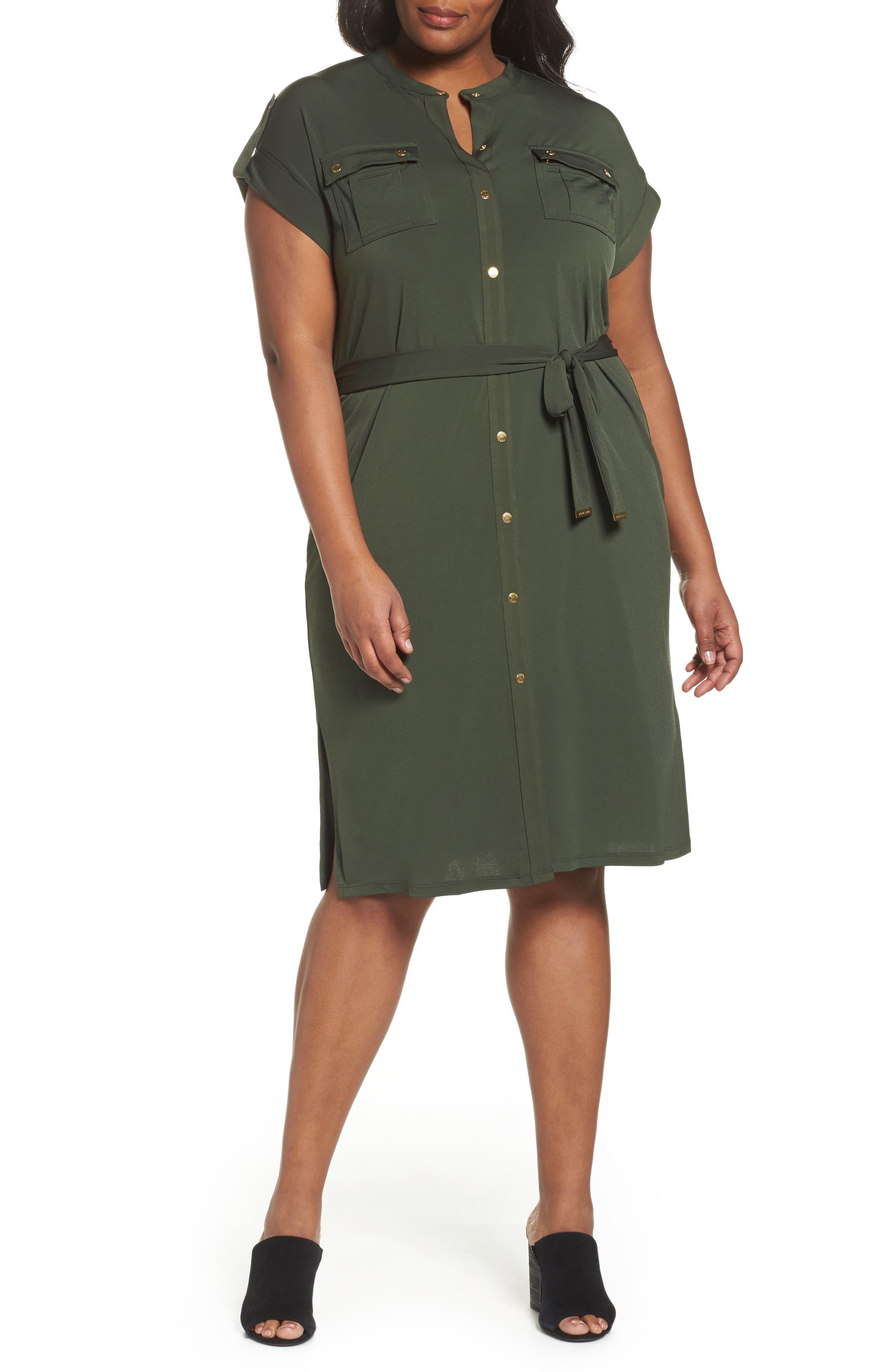 Matte Jersey Maxi Shirtdress,                             Main thumbnail 1, color,                             Ivy