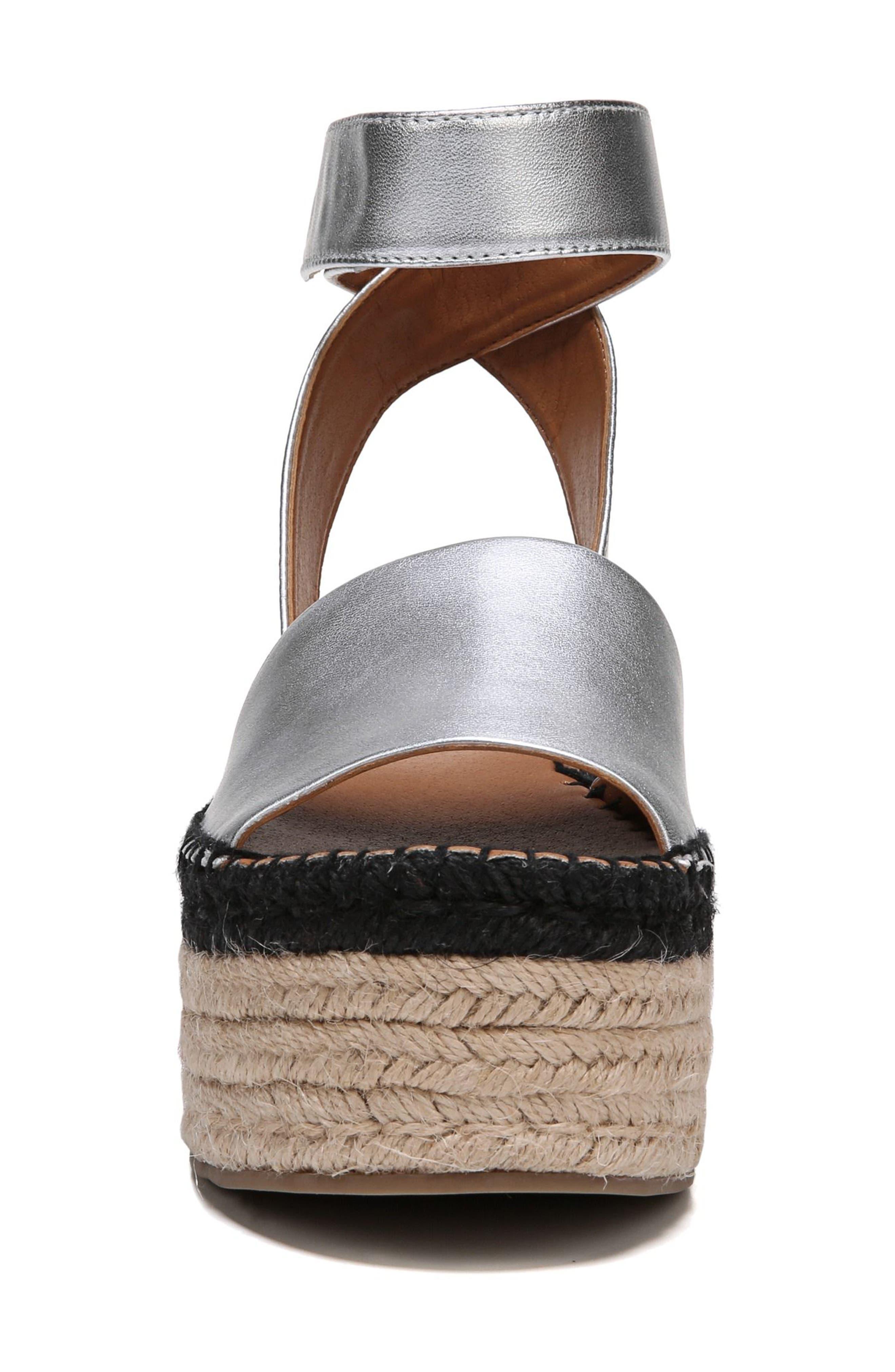 Maisi Platform Espadrille Sandal,                             Alternate thumbnail 4, color,                             Silver Leather