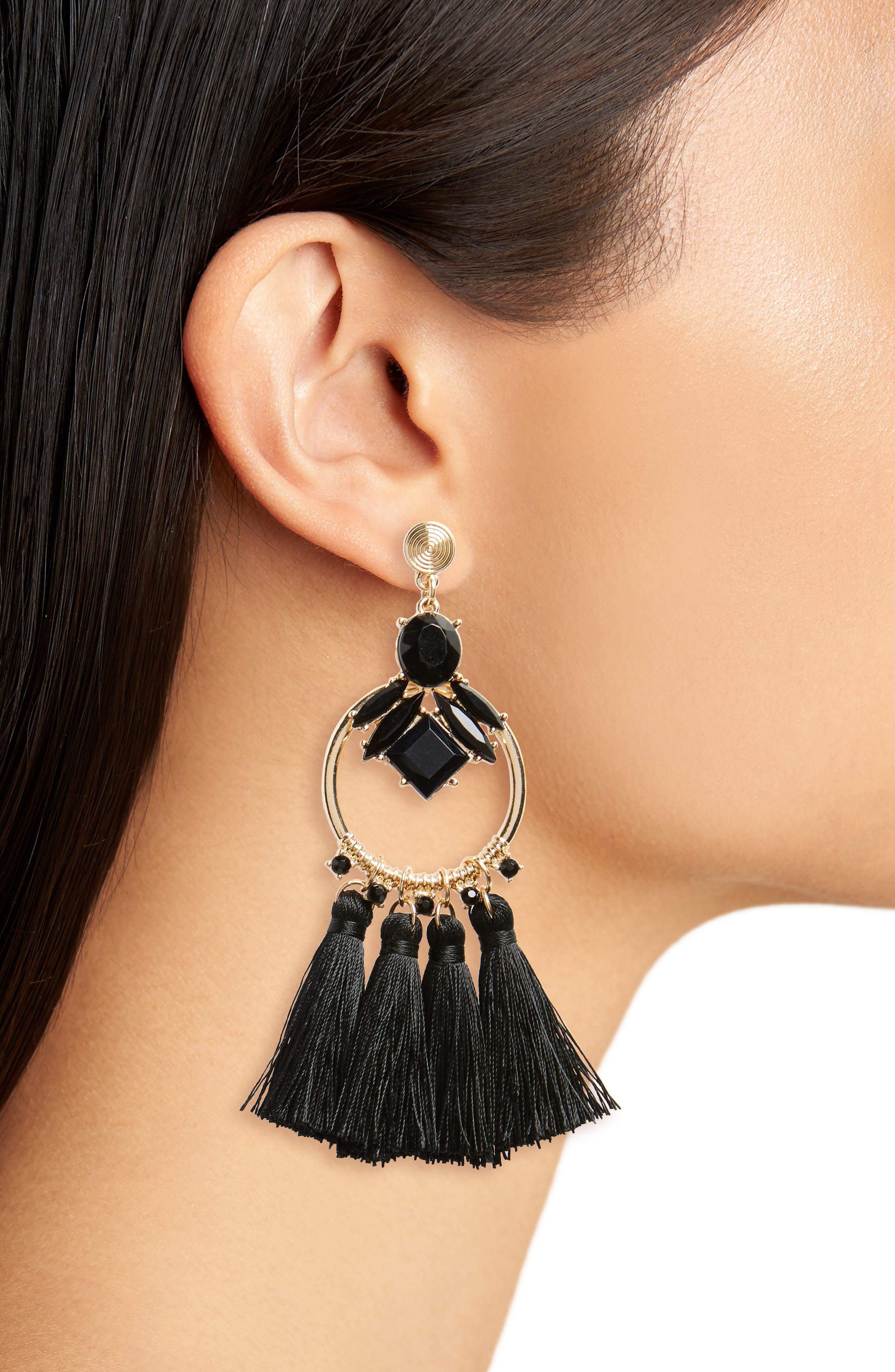 Crystal & Tassel Drop Earrings,                             Alternate thumbnail 2, color,                             Gold/ Black