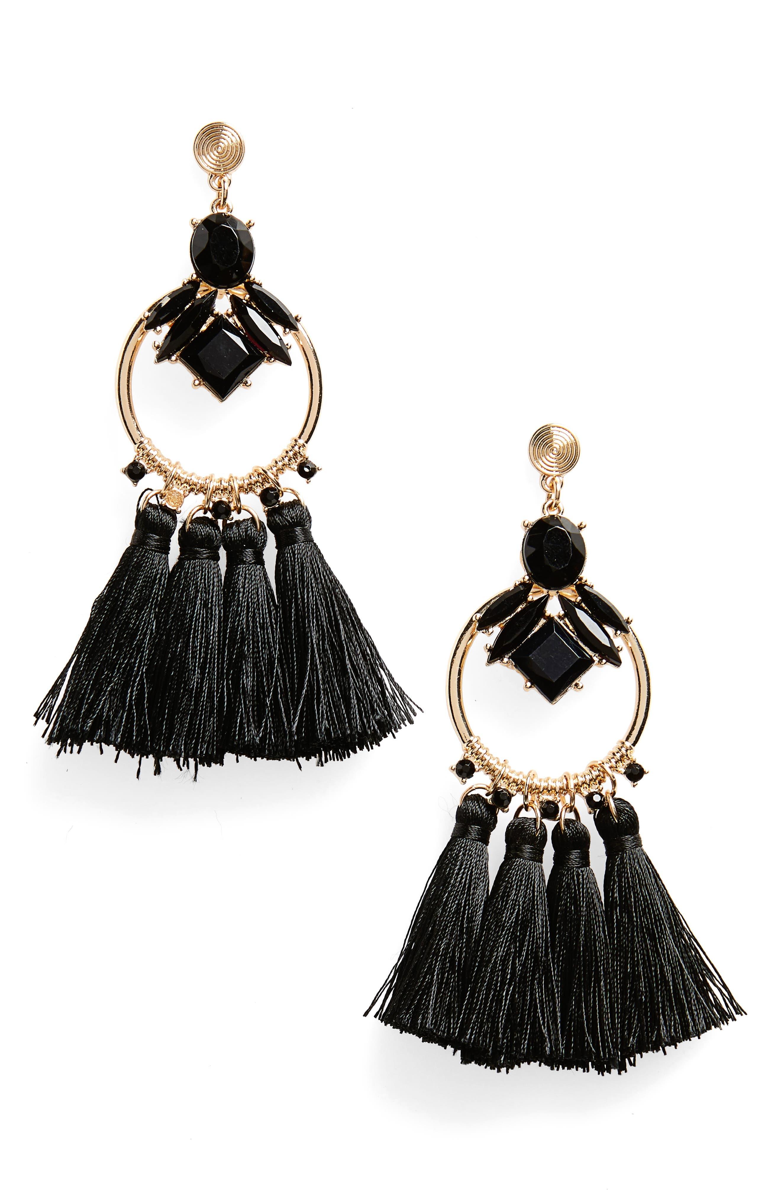 Crystal & Tassel Drop Earrings,                         Main,                         color, Gold/ Black